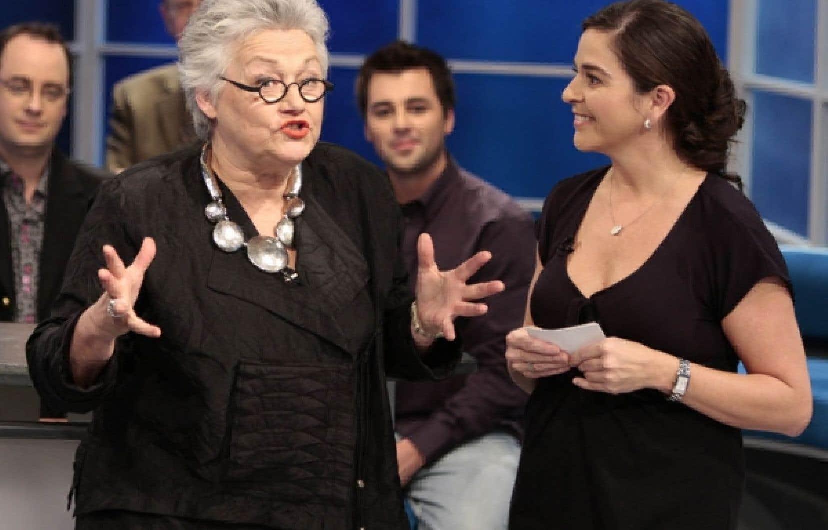 Cora Tsouflidou, coprésidente du conseil d'administration de VoirGrand.tv, et l'animatrice et productrice Anne Marcotte