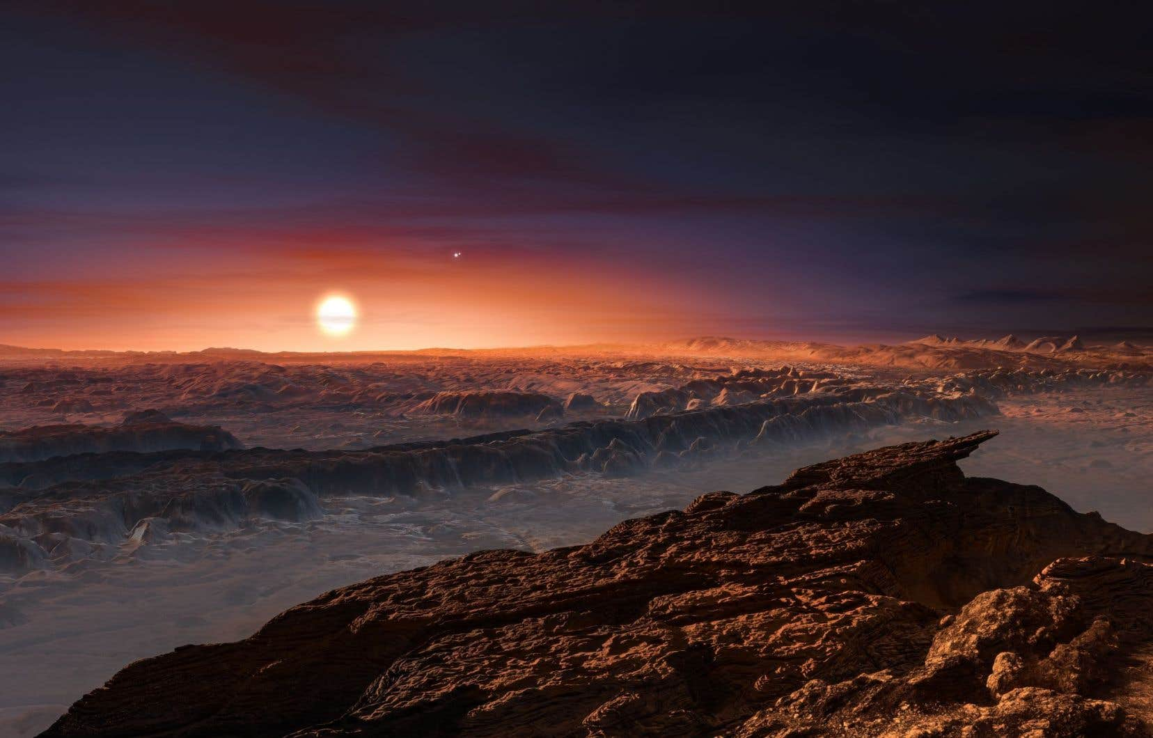 Cette représentation de Proxima b offre un aperçu que ce que les scientifiques pourraient observer à l'aide d'un télescope d'ici une dizaine d'années.