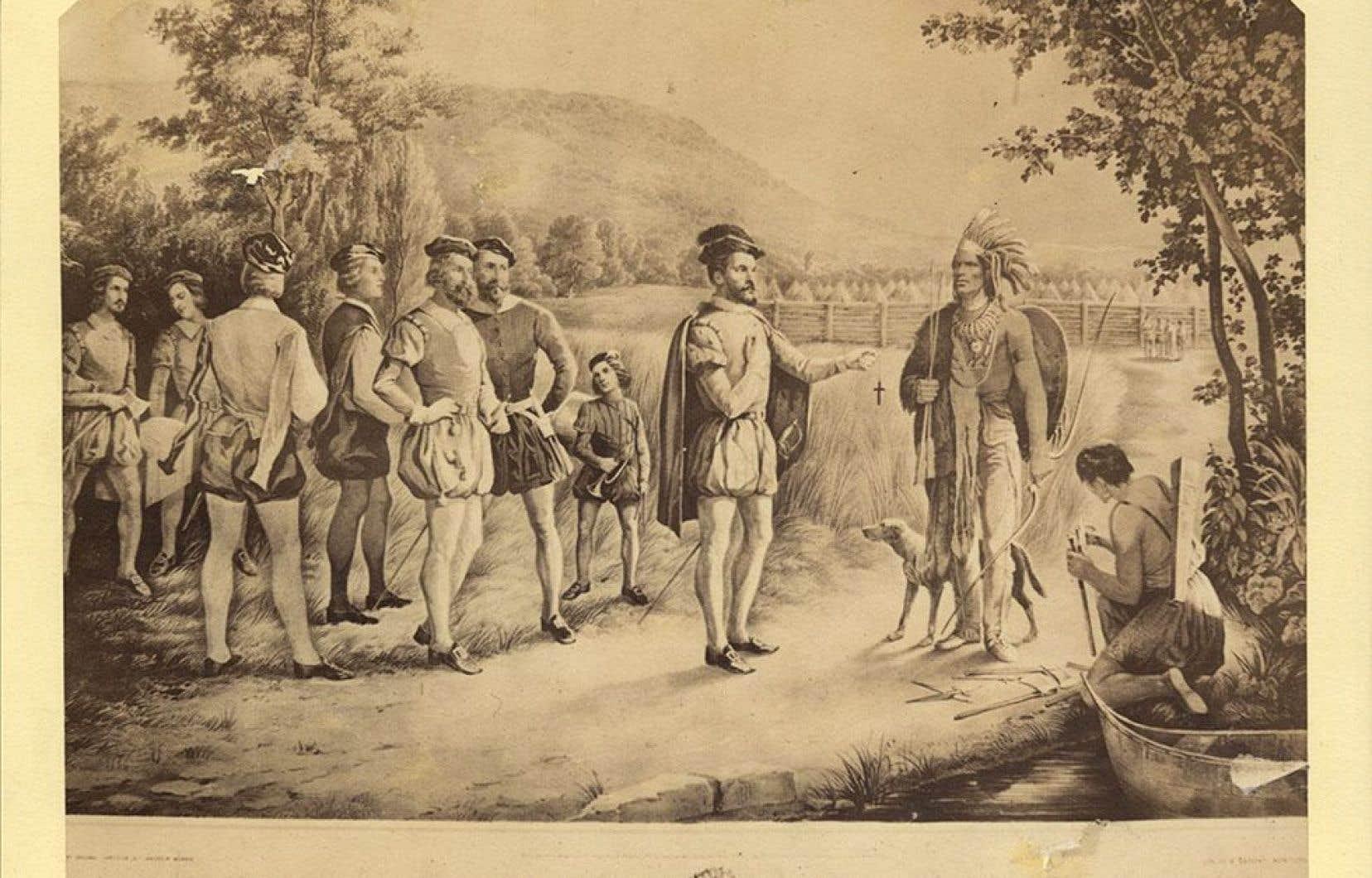 Depuis le début, les Français ont été forcés d'avoir des liens forts avec les Amérindiens. Ci-dessus, une représentation de la rencontre de Jacques Cartier avec les autochtones d'Hochelaga en 1535.