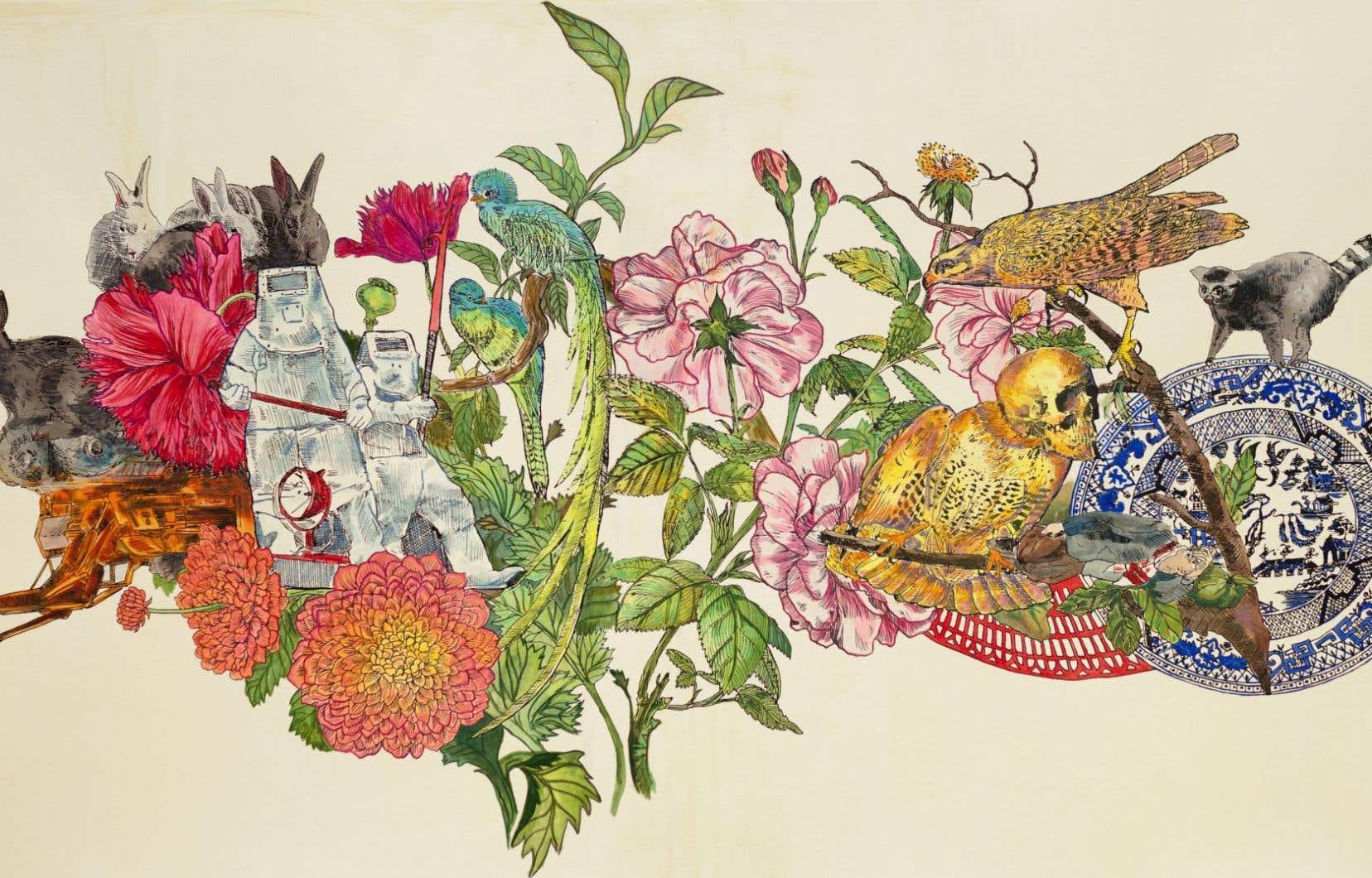 Une des œuvres de la collection du MNBAQ: Cynthia Dinan-Mitchell, «Jardin secret n° 15», 2014. Sérigraphie, gouache, crayon de couleur et vernis sur papier, 61 x 114 cm.