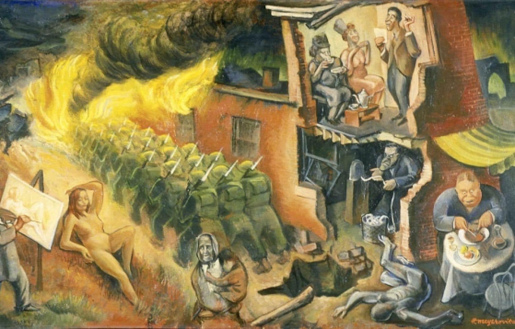 Front intérieur – Home Front, de Harry Mayerovitch (1940, huile sur panneau de fibre de bois).