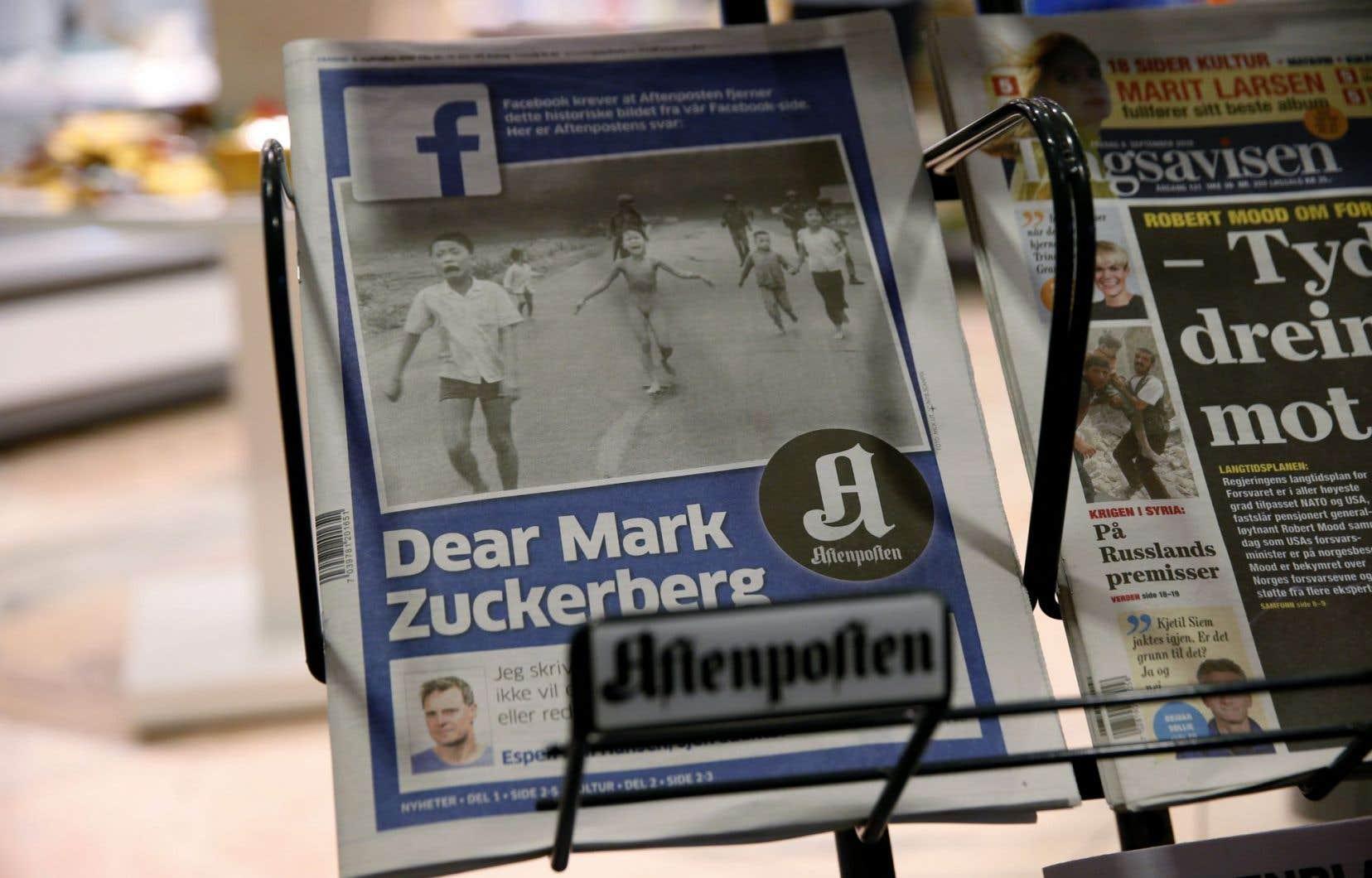 Le plus grand journal norvégien «Aftenposten»<em> </em>s'est élevé contre la censure de Facebook en reproduisant en Une vendredi la fameuse photo — sous le logo de Facebook —, accompagnée d'une lettre ouverte sur deux pages adressée à Mark Zuckerberg, le fondateur du populaire et puissant réseau social.