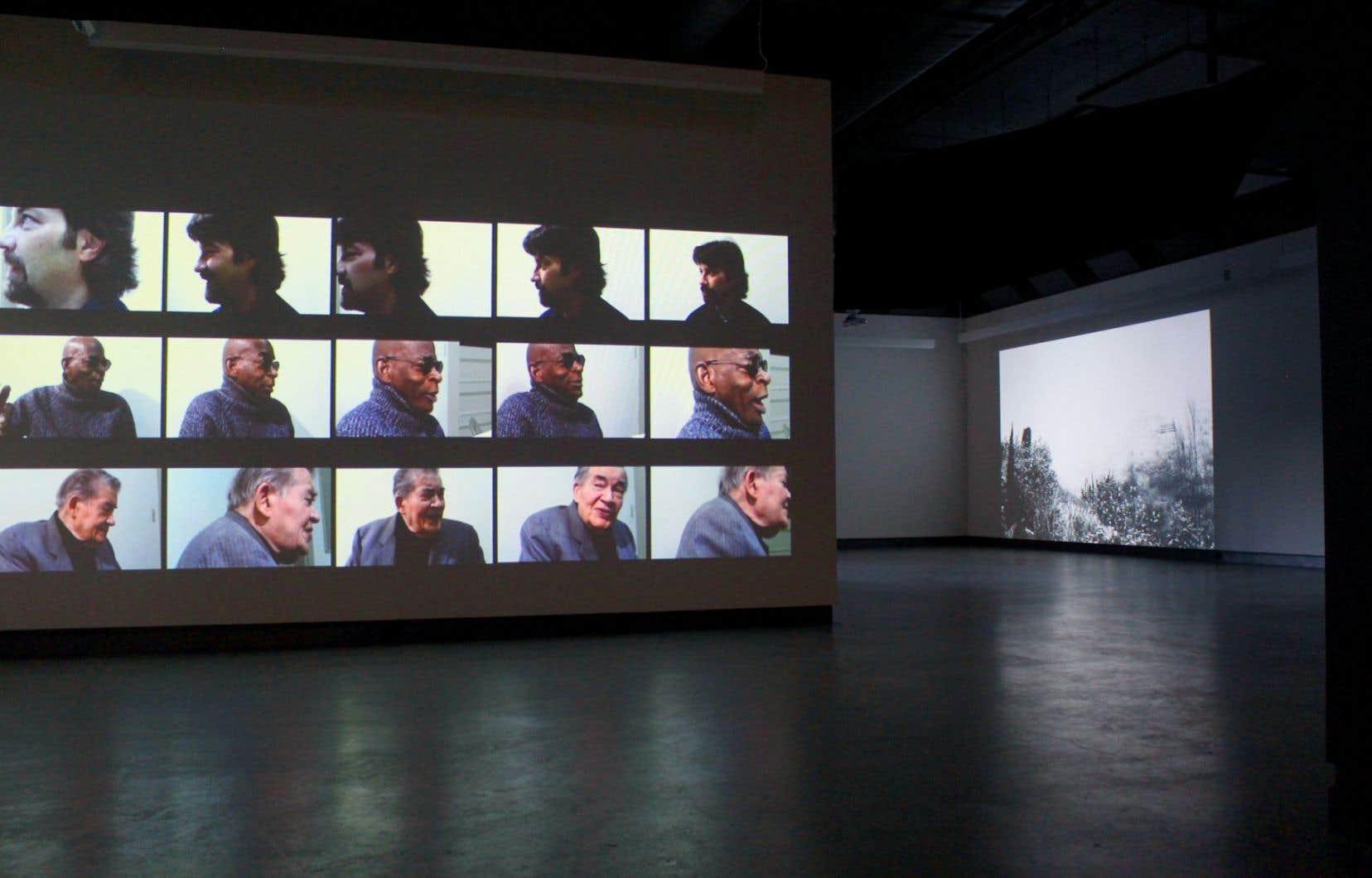 «Peripheral Island» (2016) de Roberto Santaguida et «Tierra Quemada» (2015) de Gabriela Golder (à l'arrière-plan)