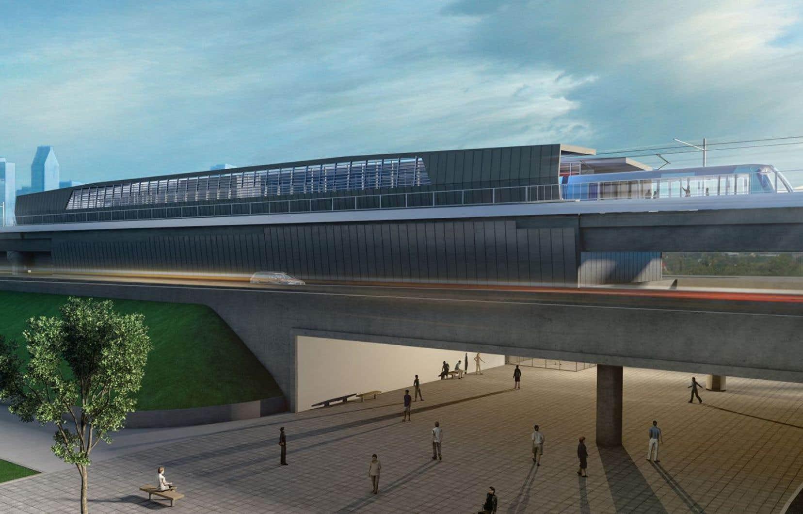 Le réseau proposé compterait 24 stations, 13 stationnements incitatifs et neuf terminus d'autobus.