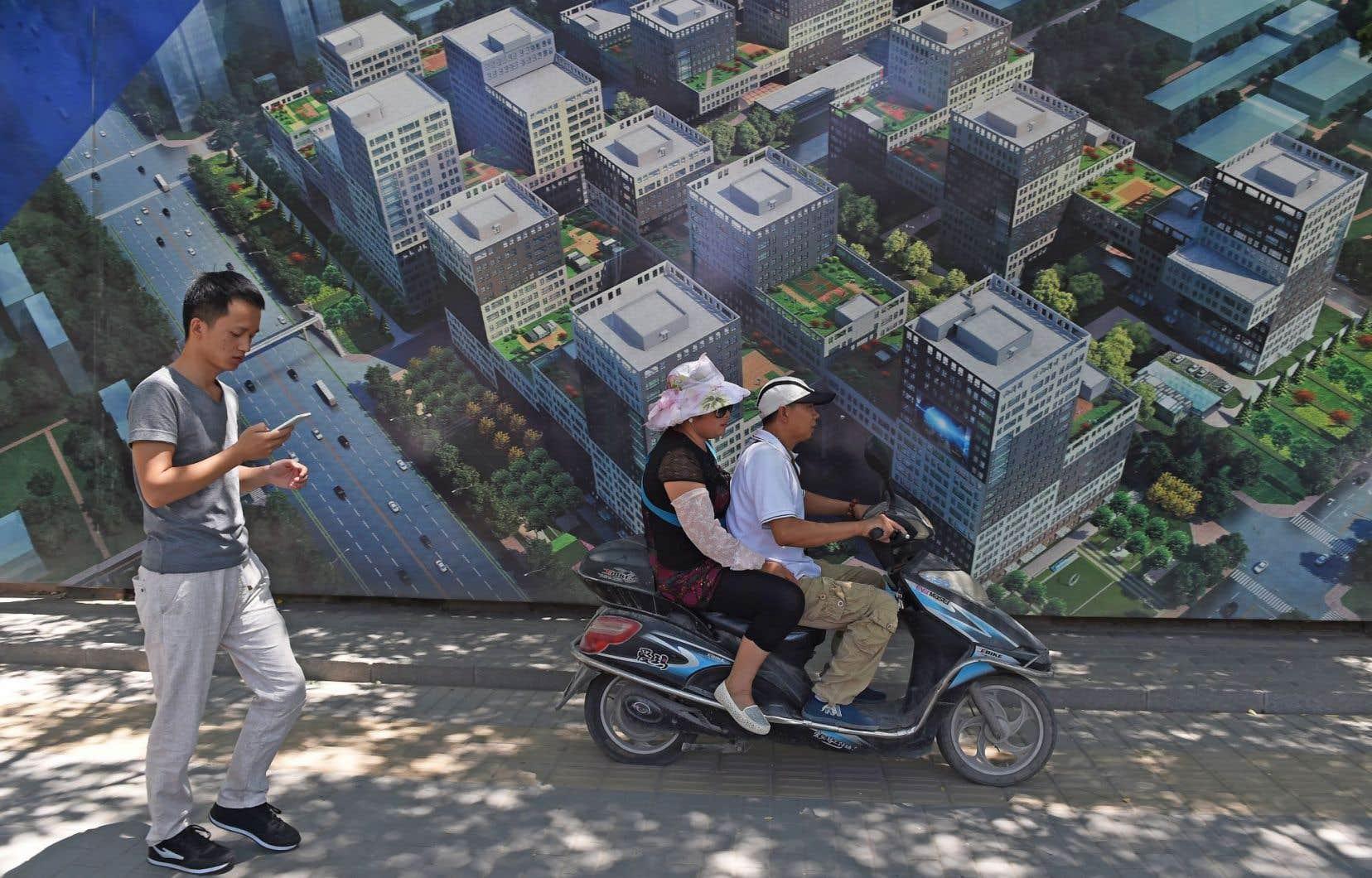 Une des nombreuses affiches faisant la promotion d'un développement immobilier que l'on peut voir en circulant dans Pékin.