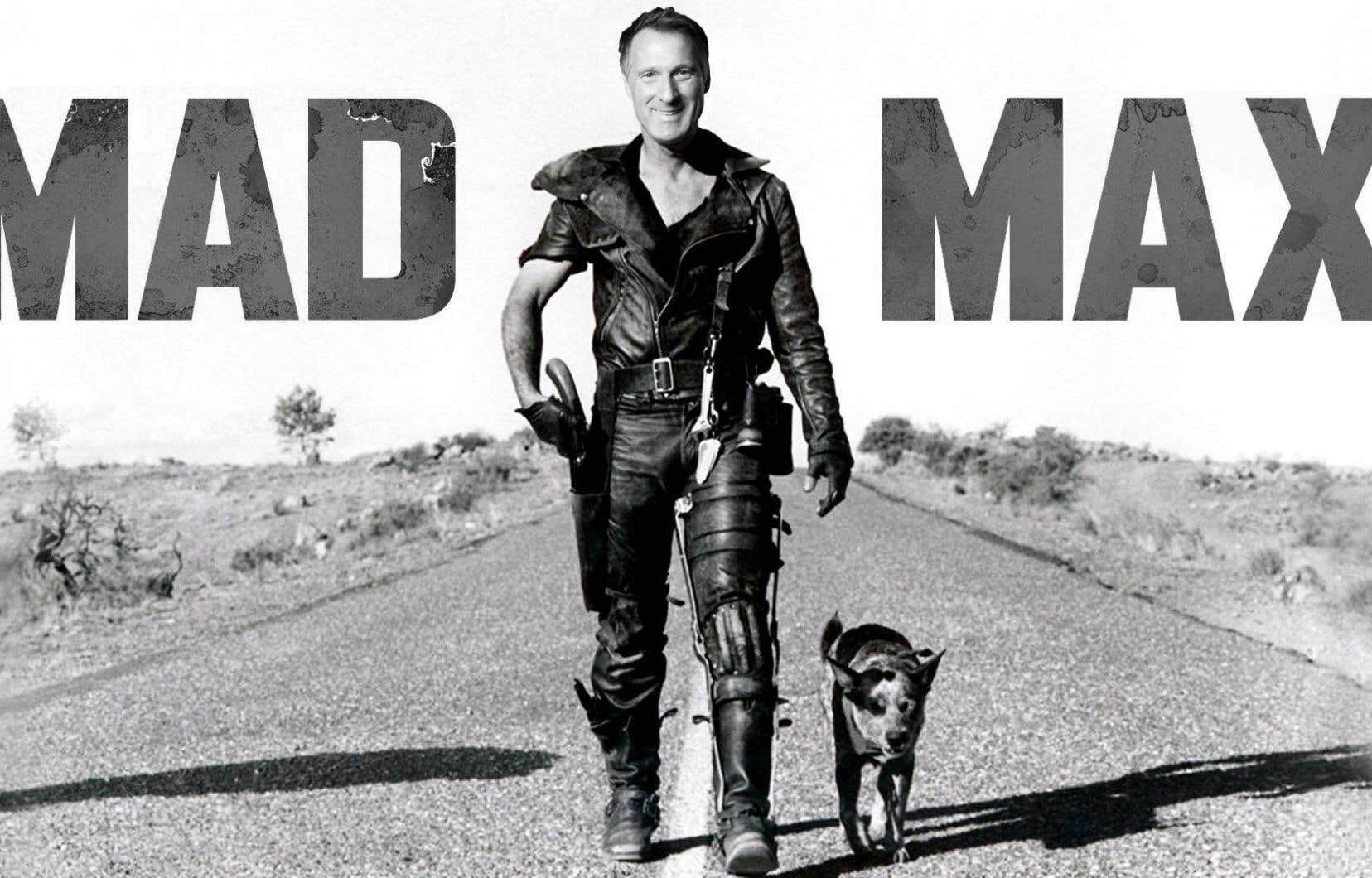 L'équipe Bernier a mis en ligne, lundi soir, une image manipulée plaçant le visage de son candidat sur celui de Mel Gibson, la vedette du célèbre film d'anticipation australien <em>Mad Max</em>.