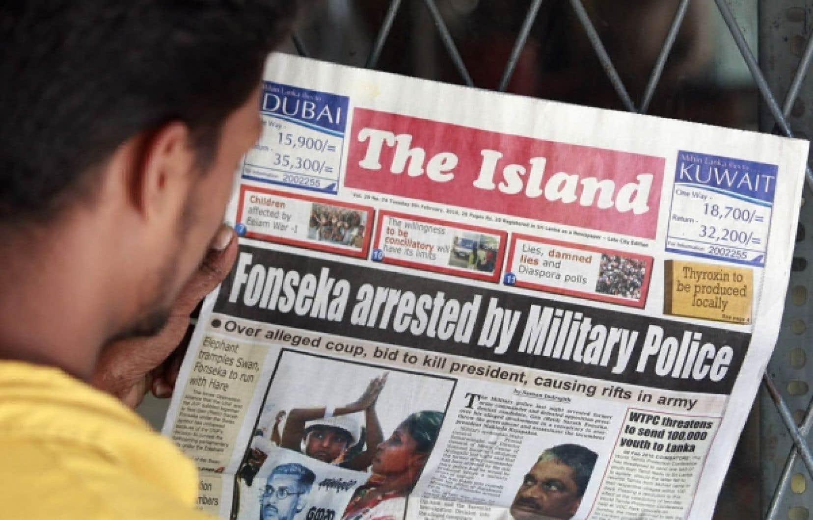 L'arrestation de Sarath Fonseka a fait la une de tous les journaux au Sri Lanka.