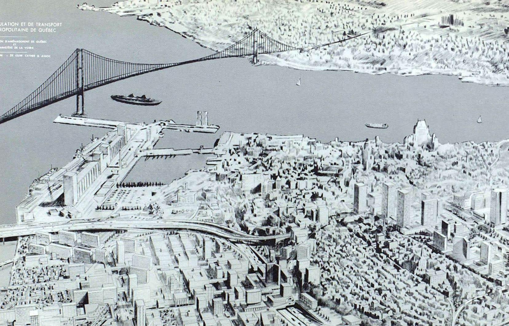 Vue futuriste de 1968 illustrant un projet de pont à haubans entre Québec et Lévis.