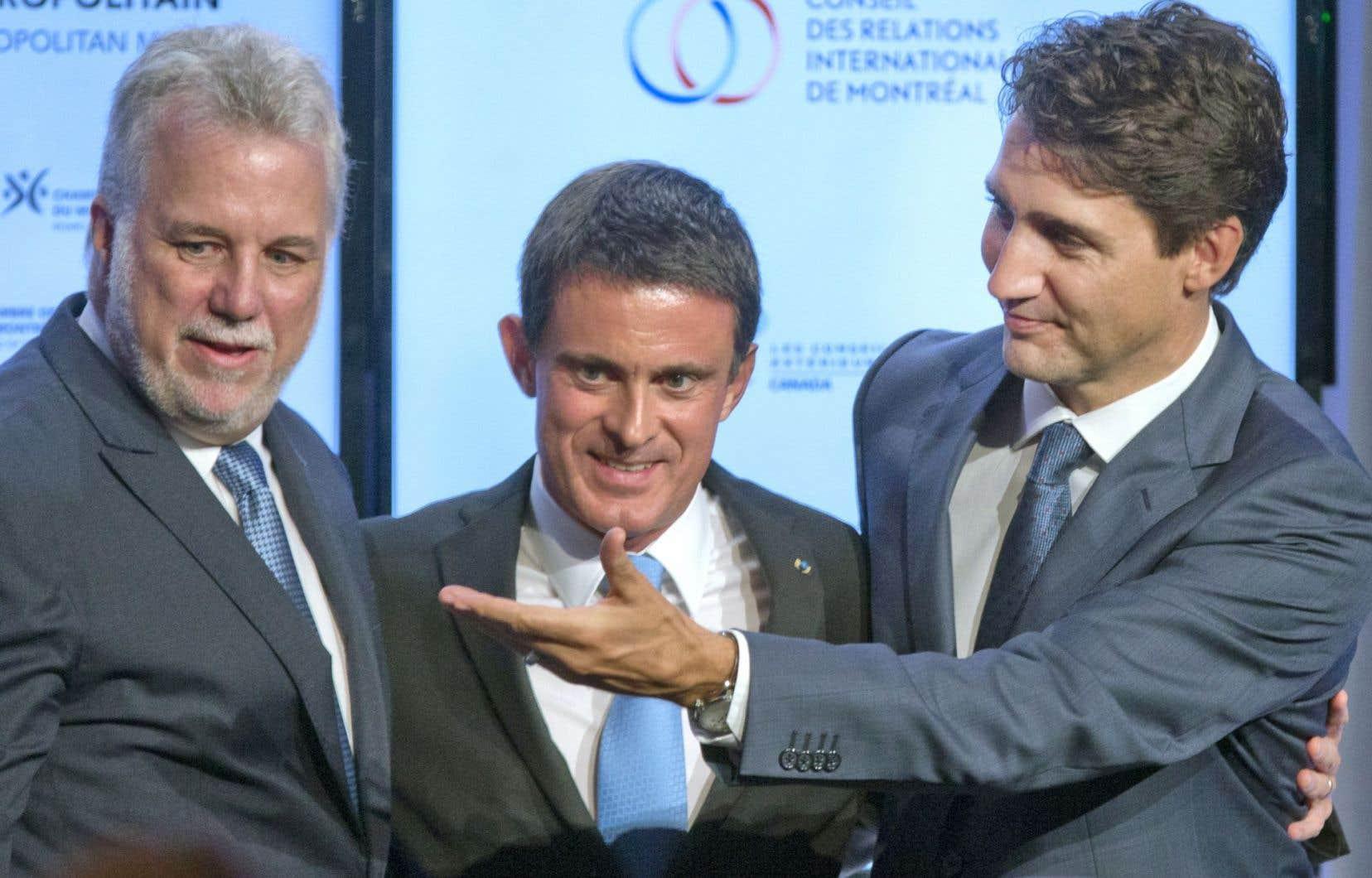 Philippe Couillard, Manuel Valls et Justin Trudeau ont parlé d'une même voix jeudi.