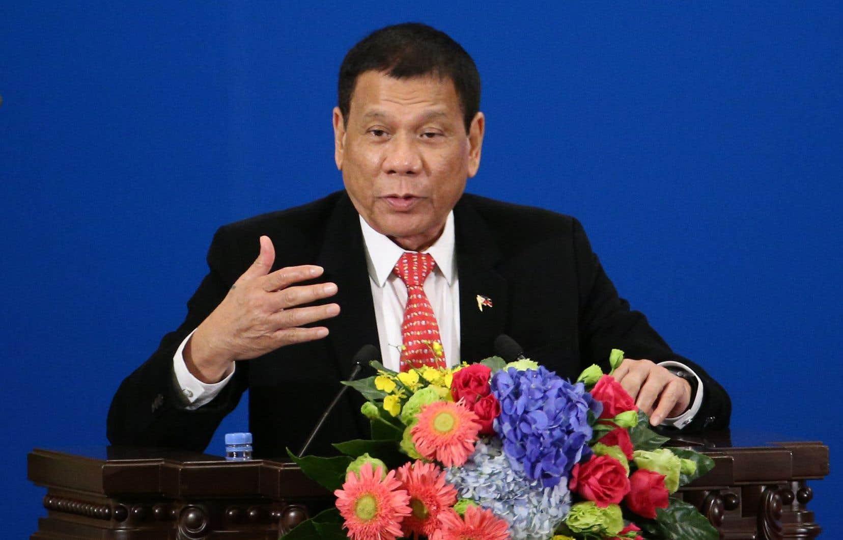 Rodrigo Duterte participait à un forum économique à Pékin jeudi.