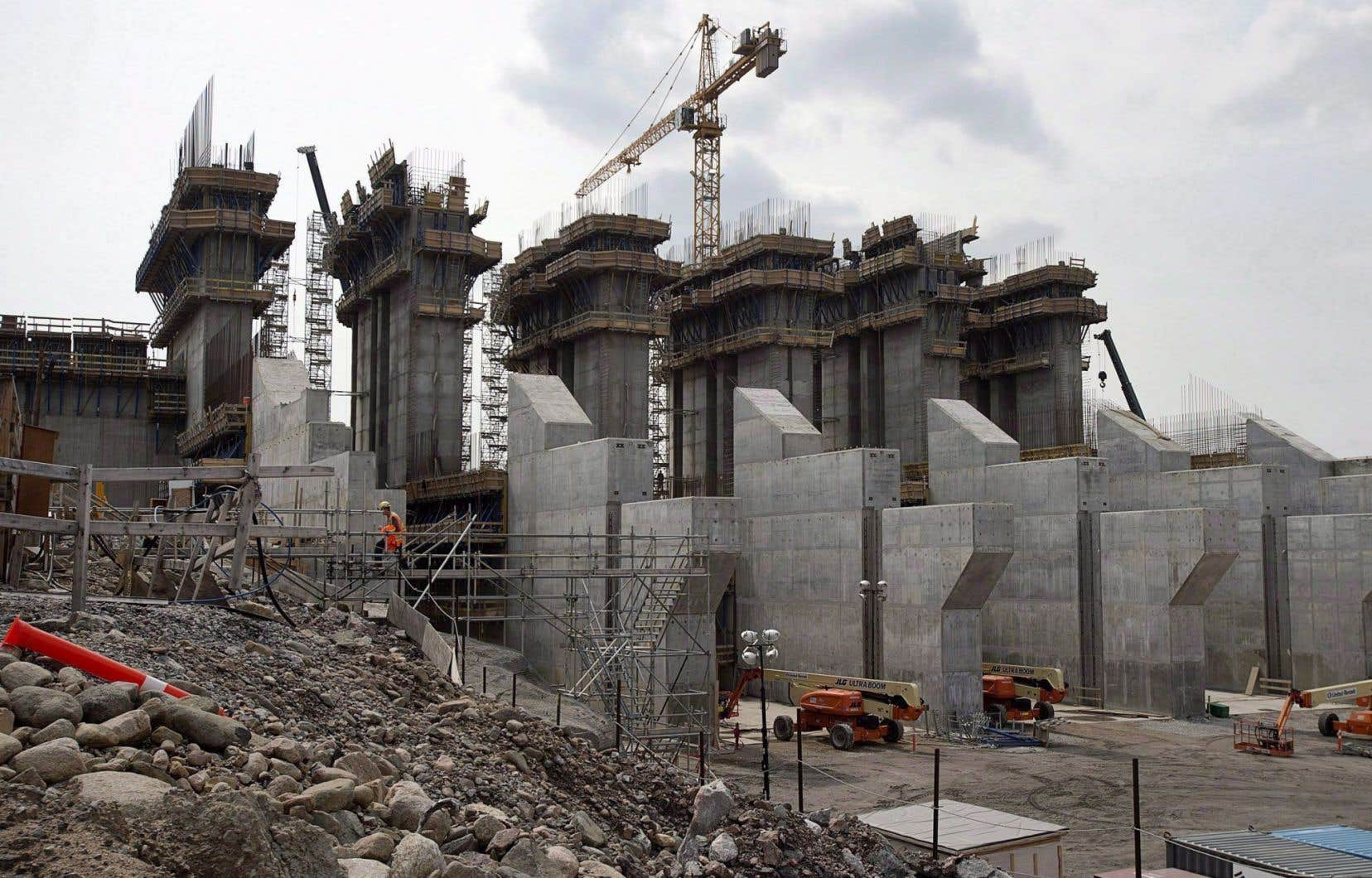 Le chantier de la centrale hydro-électrique de Muskrat Fall, au Labrador, en 2014