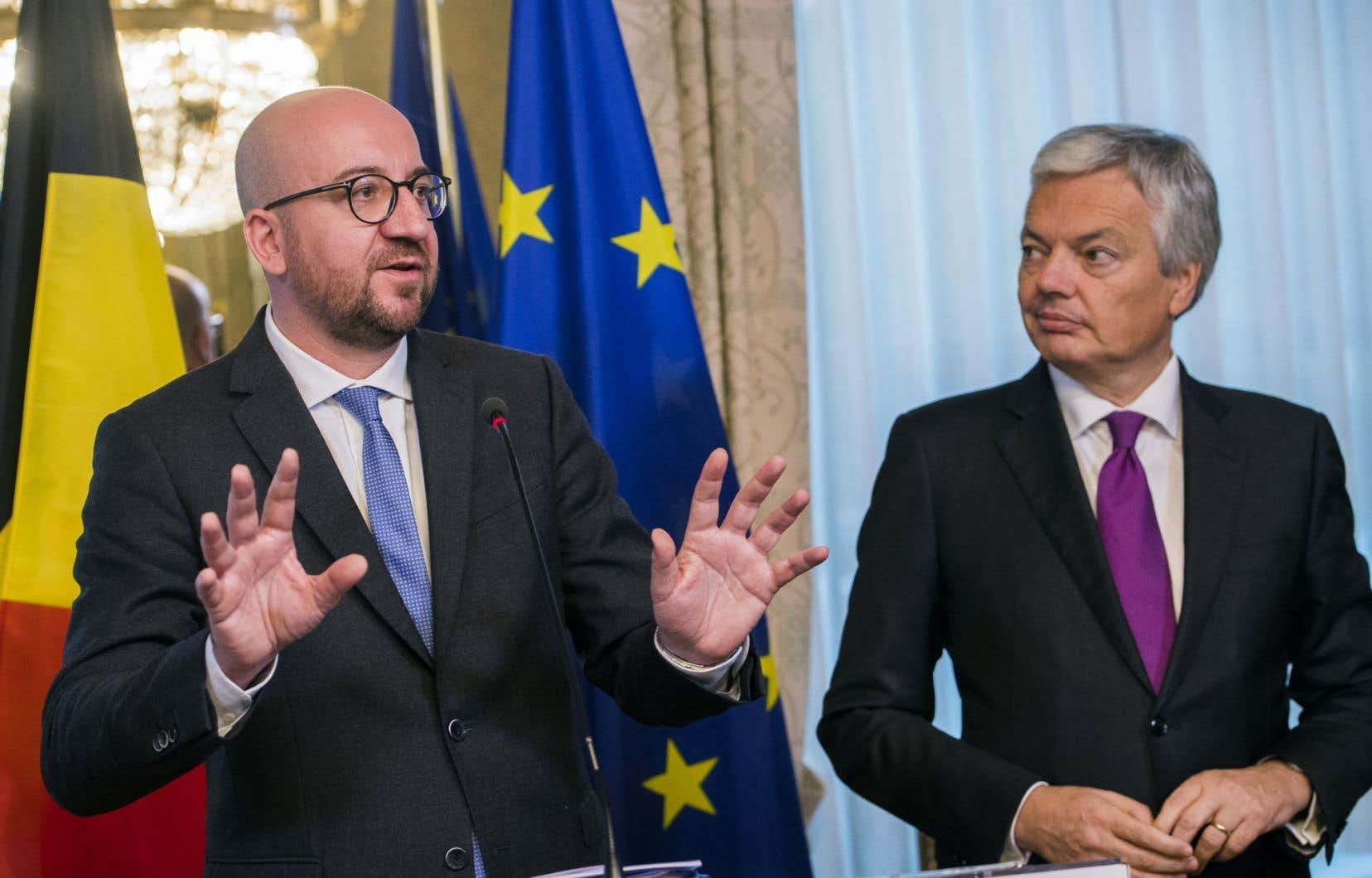 Le premier ministre belge, Charles Michel, et son ministre des Affaires étrangères, Didier Reynders