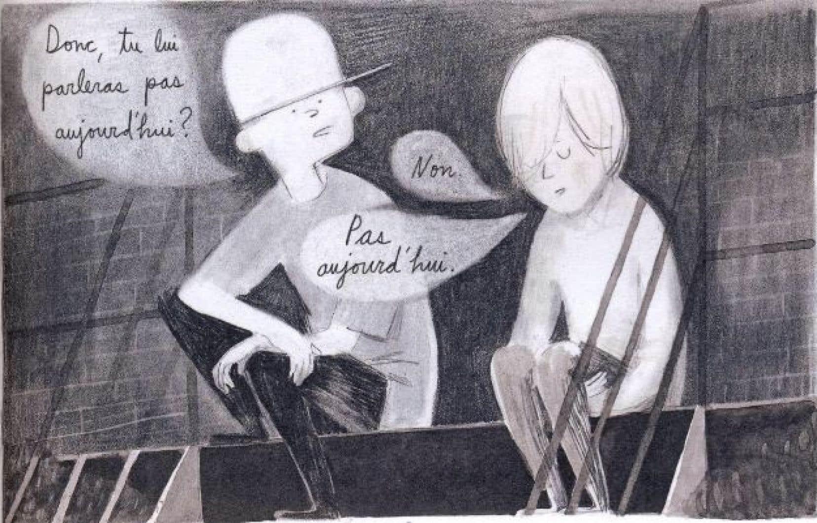 Pages après pages, les perles poétiques du texte entrent en symbiose avec l'illustration dans «Louis parmi les spectres».