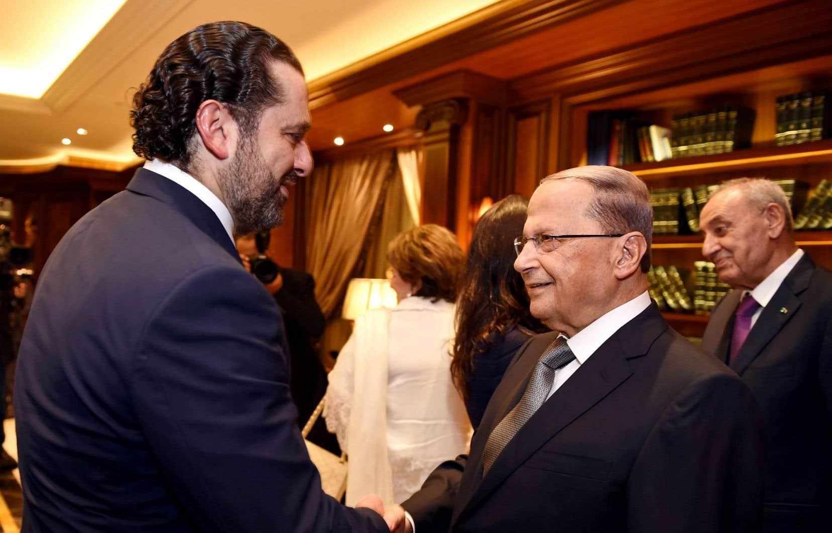 L'ancien chef du gouvernement Saad Hariri a félicité Michel Aoun pour sa victoire, lundi.