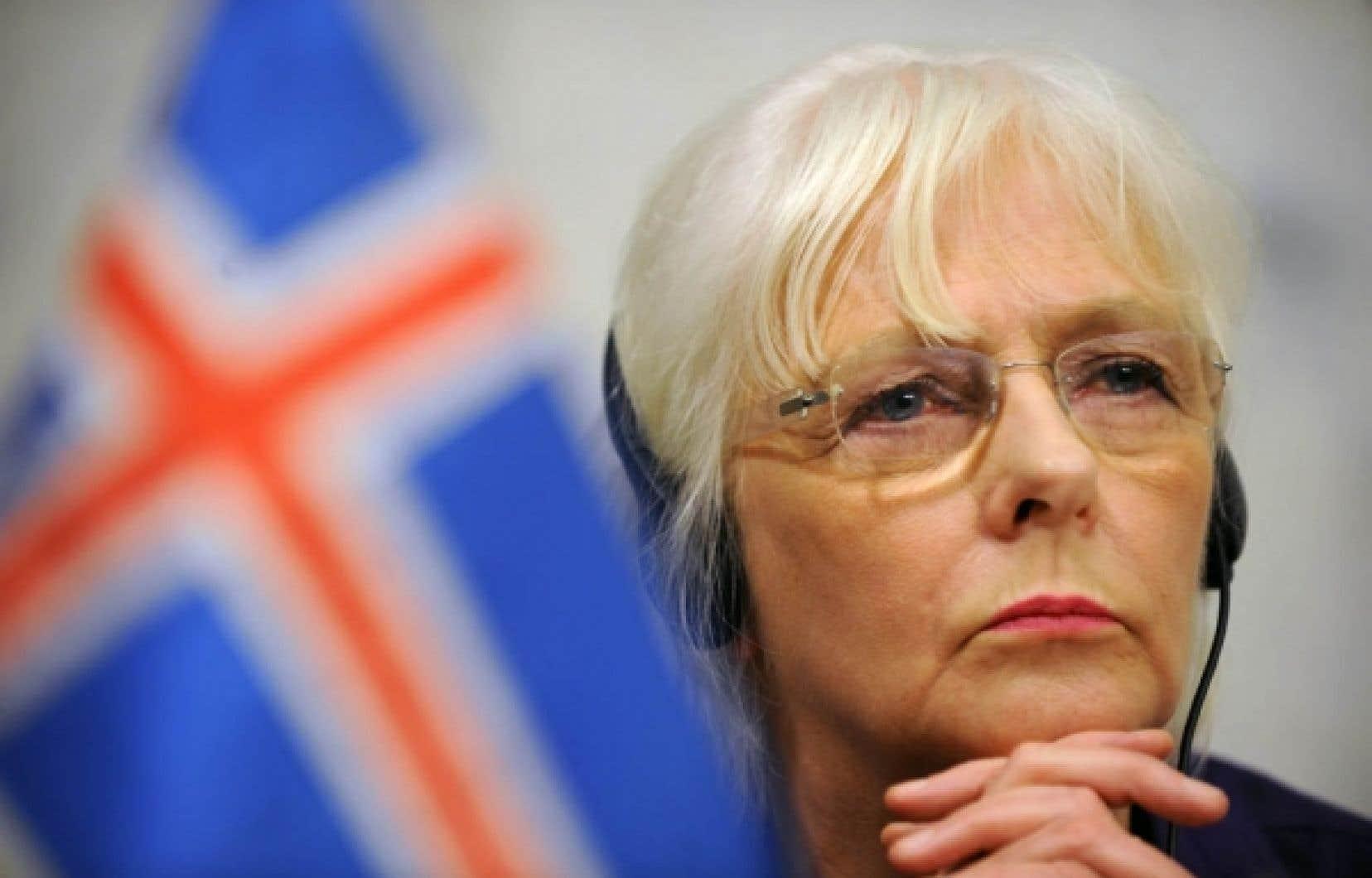 La première ministre d'Islande, Johanna Sigurdardottir