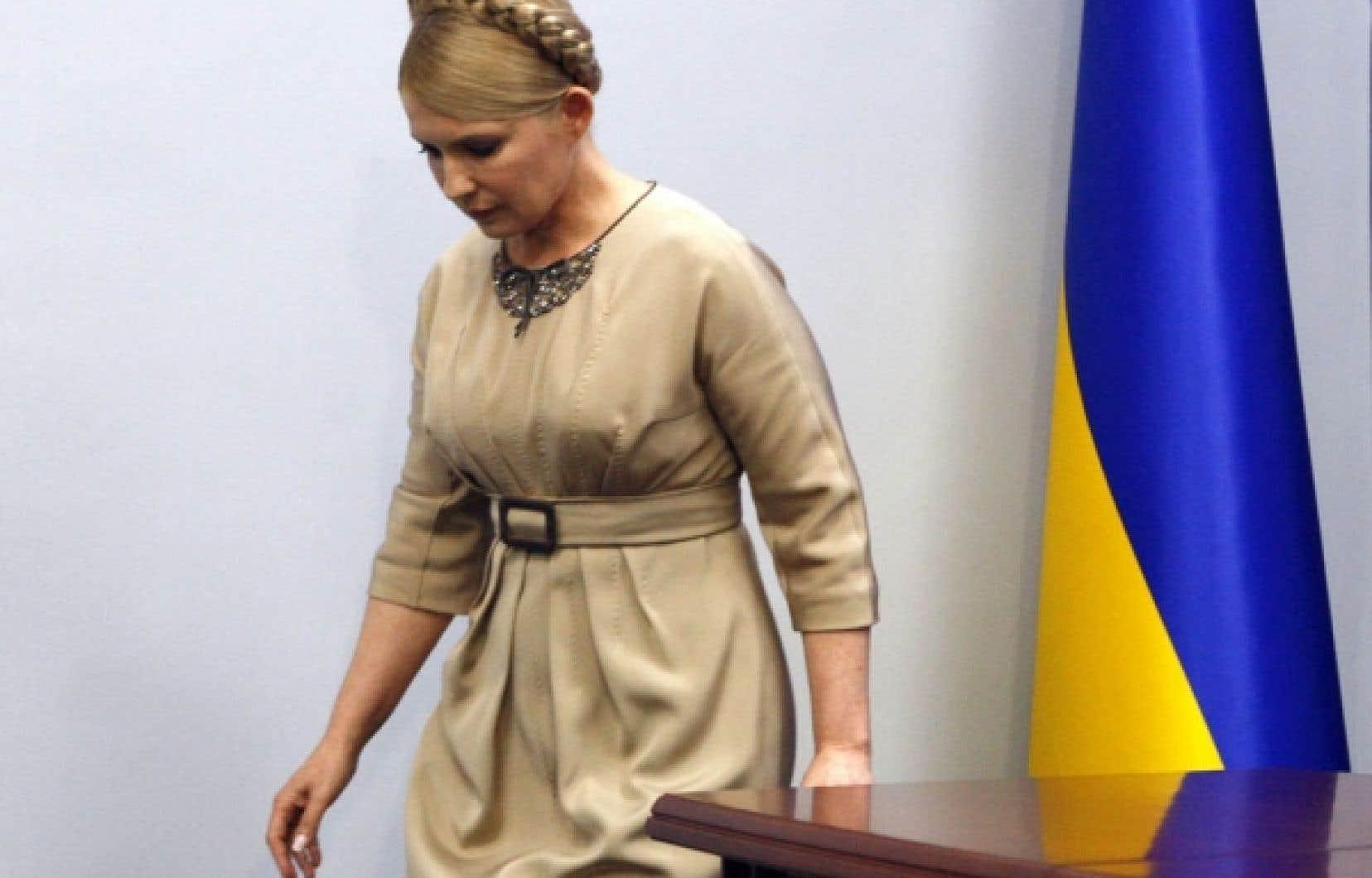 Ioulia Timochenko après une conférence de presse hier, à Kiev.