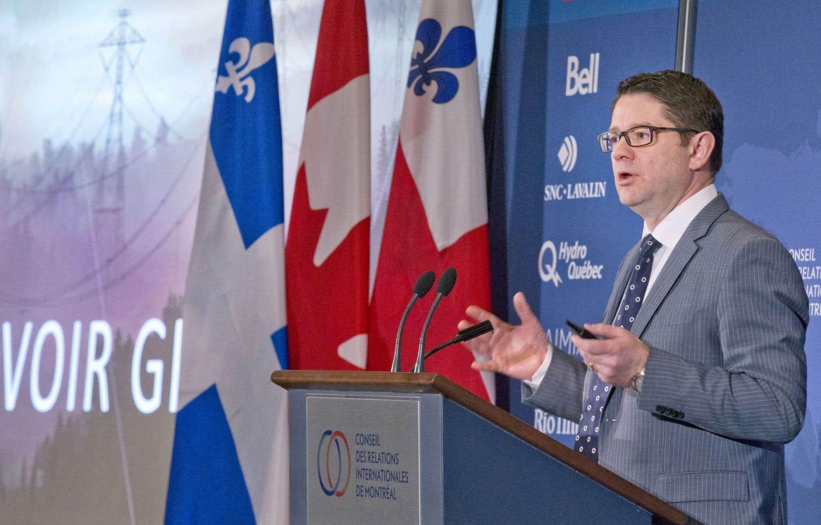 Le président-directeur général d'Hydro-Québec, Éric Martel, au cours de son allocution