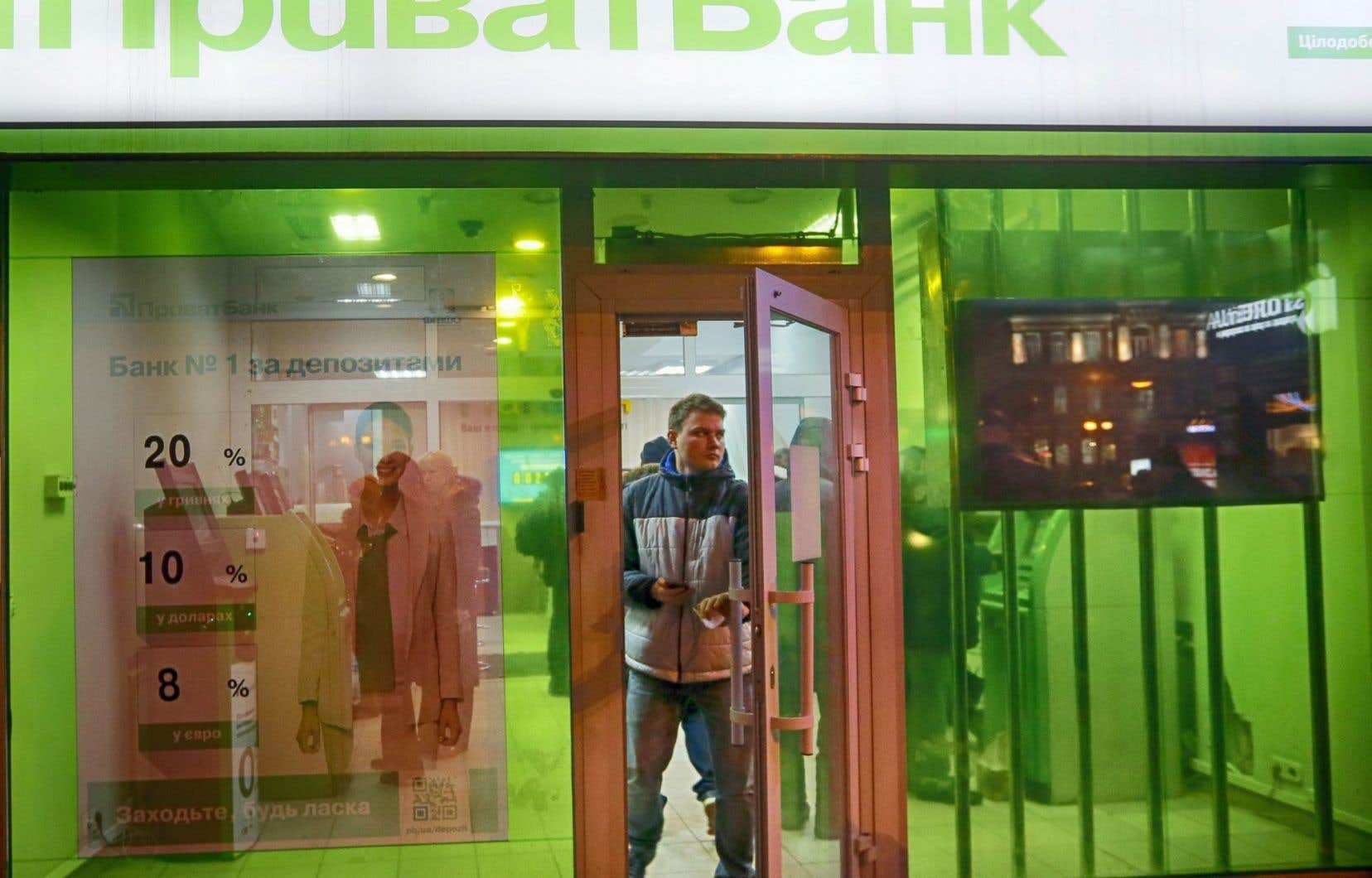 Succursale de la PrivatBank, à Kiev