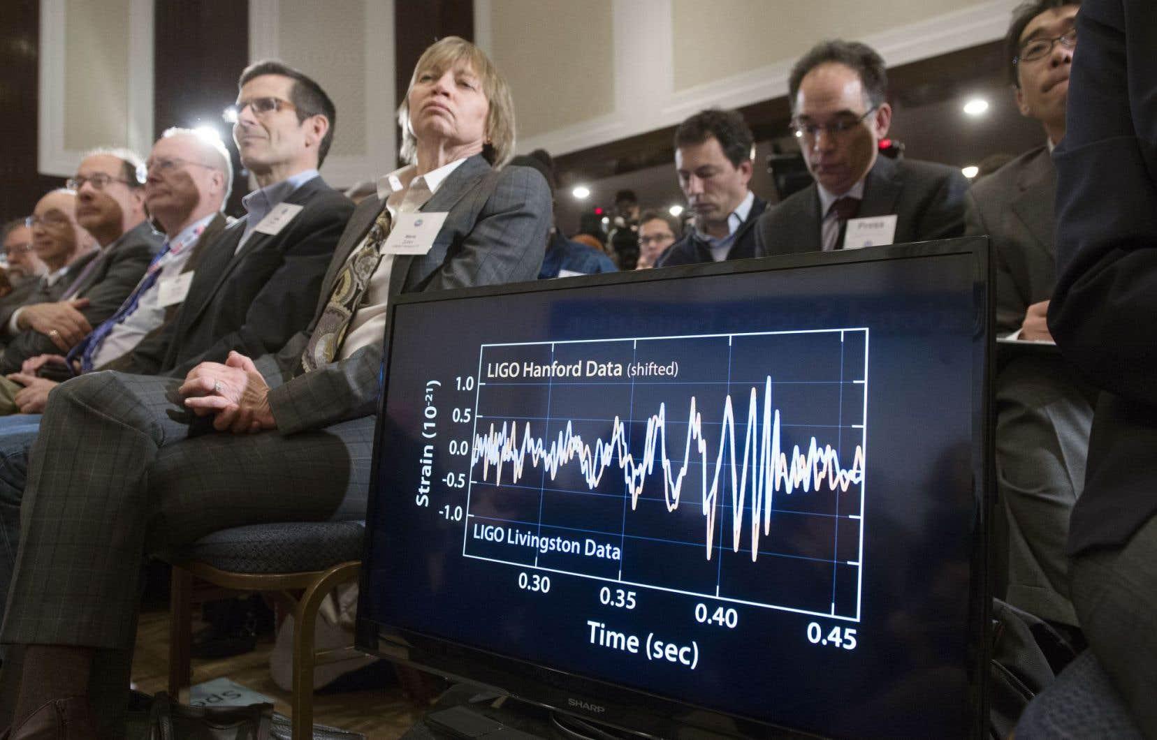 Les chercheurs étaient euphoriques quand ils ont annoncé, le 11février 2016, en conférence de presse à Washington, que les deux détecteurs du Laser Interferometer Gravitational-Wave Observatory situés aux États-Unis avaient enregistré pour la première fois des ondes gravitationnelles.