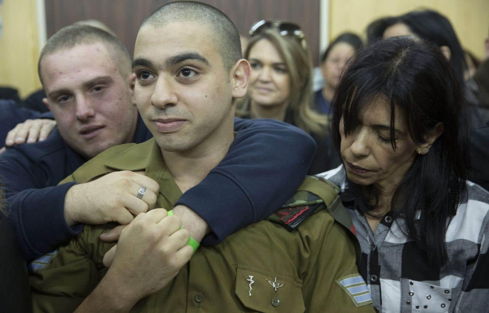 Le sergent Elor Azaria, en attente du verdict avec ses proches