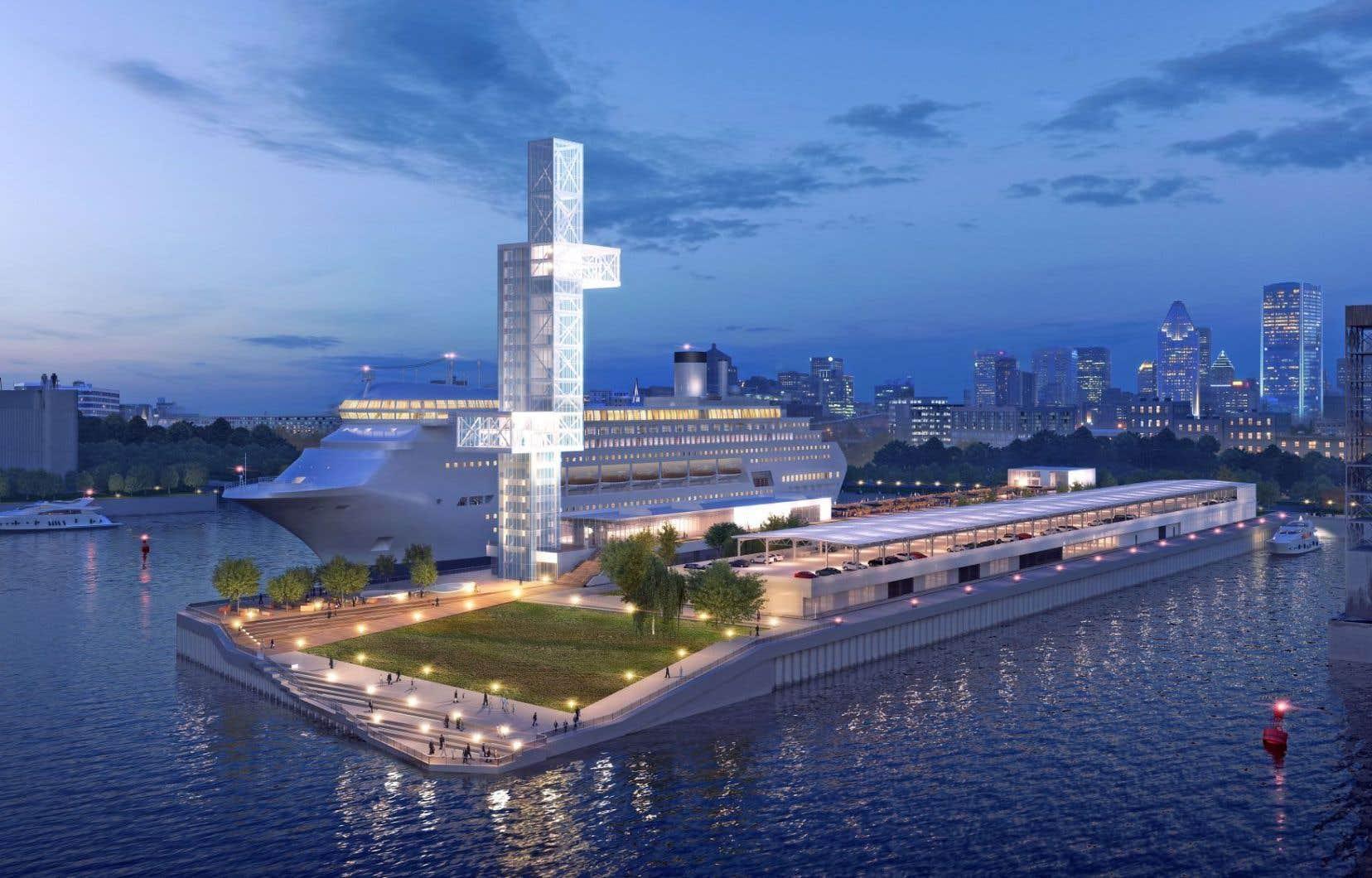 La jetée Alexandra du port de Montréal, dont on voit une esquisse, est en voie d'être rénovée pour accueillir les bateaux de croisière.