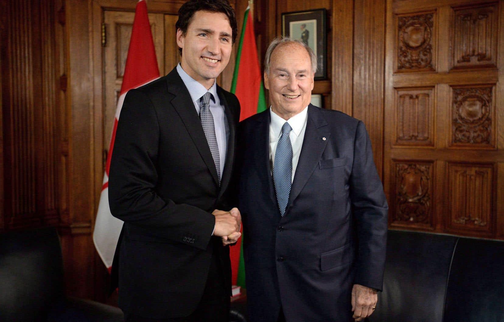 Le premier ministre avait reçu l'Aga Khan à son bureau d'Ottawa en mai dernier.
