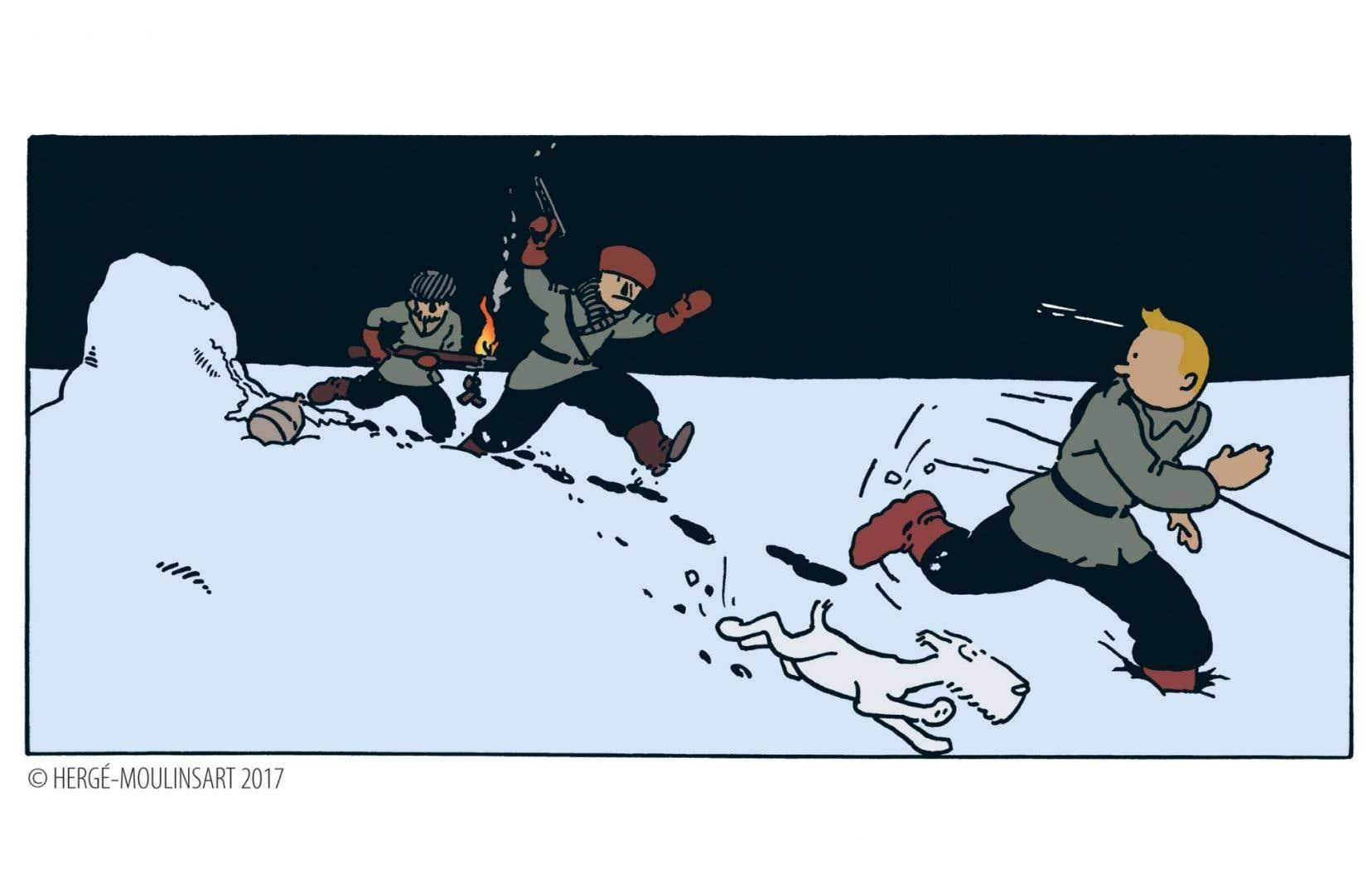 Une vignette de la version colorisée de «Tintin au pays des Soviets»
