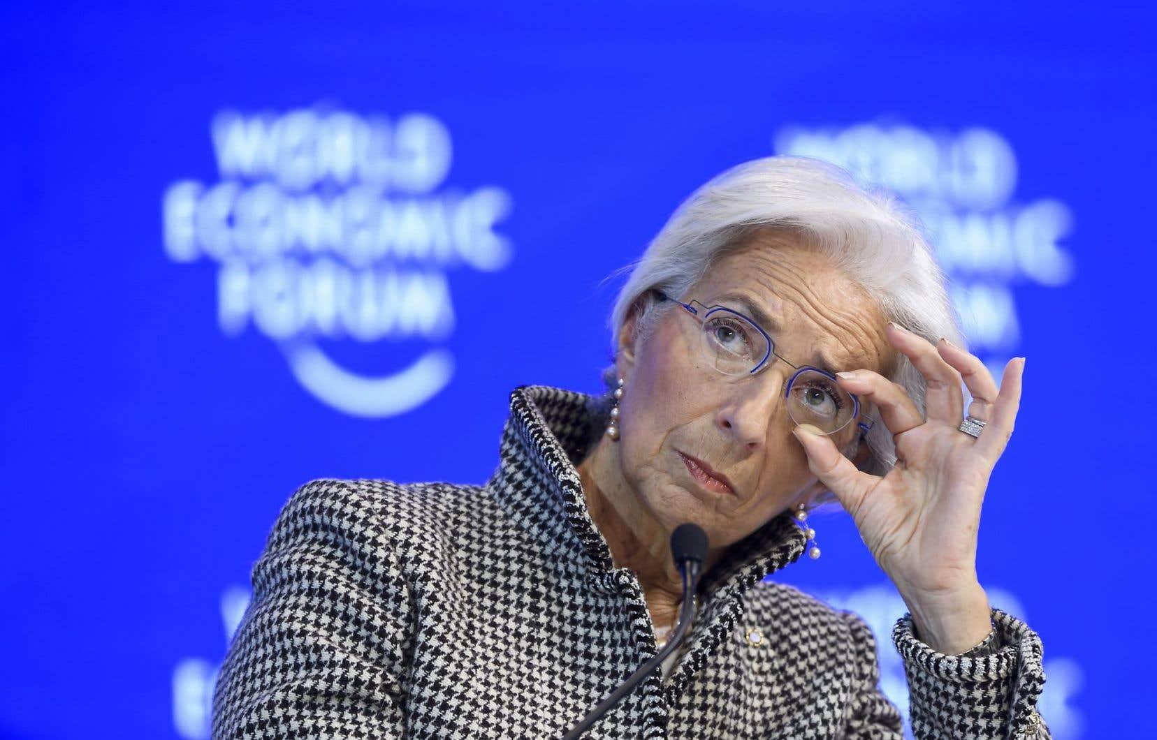 La directrice générale du FMI, Christine Lagarde, lors d'un débat au Forum économique mondial intitulé «Comment renouer avec les classes moyennes».