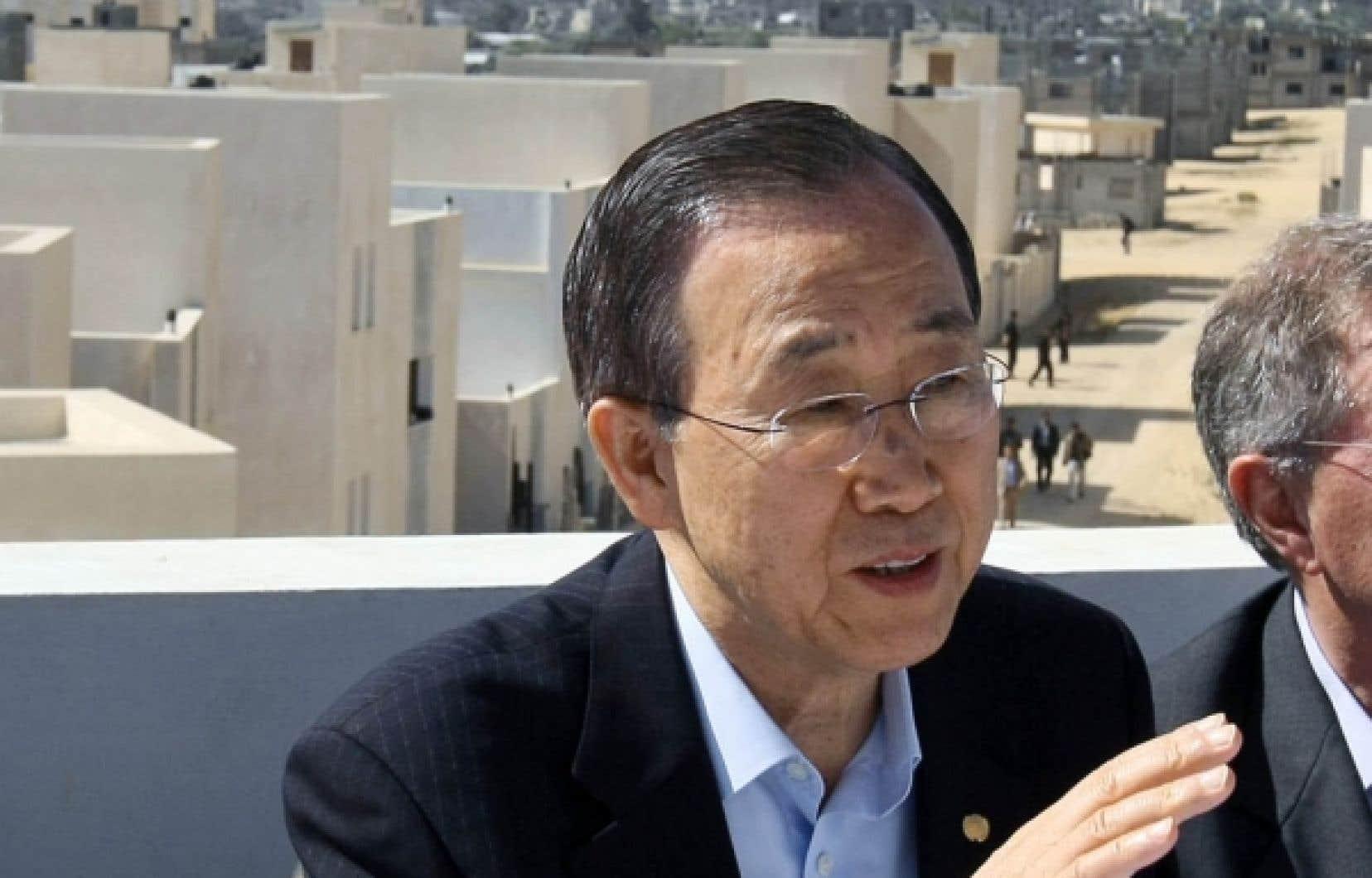 Le secrétaire général de l'ONU, Ban Ki-moon, était de passage hier dans la bande de Gaza.