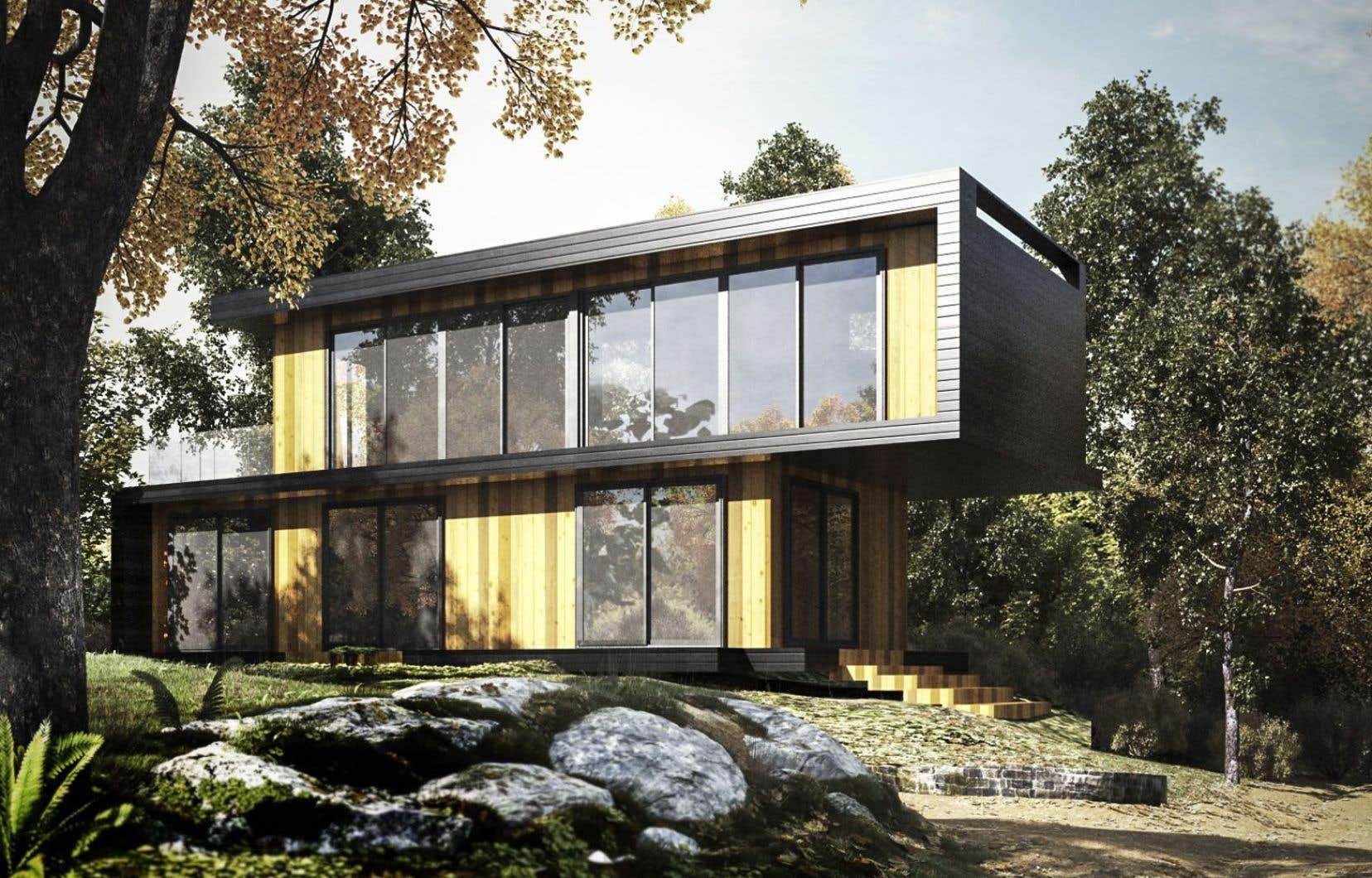 Fenestration abondante, toit plat, lignes épurées et design audacieux constituent les atouts des maisons de Thinking Habitat construites à partir de conteneurs.