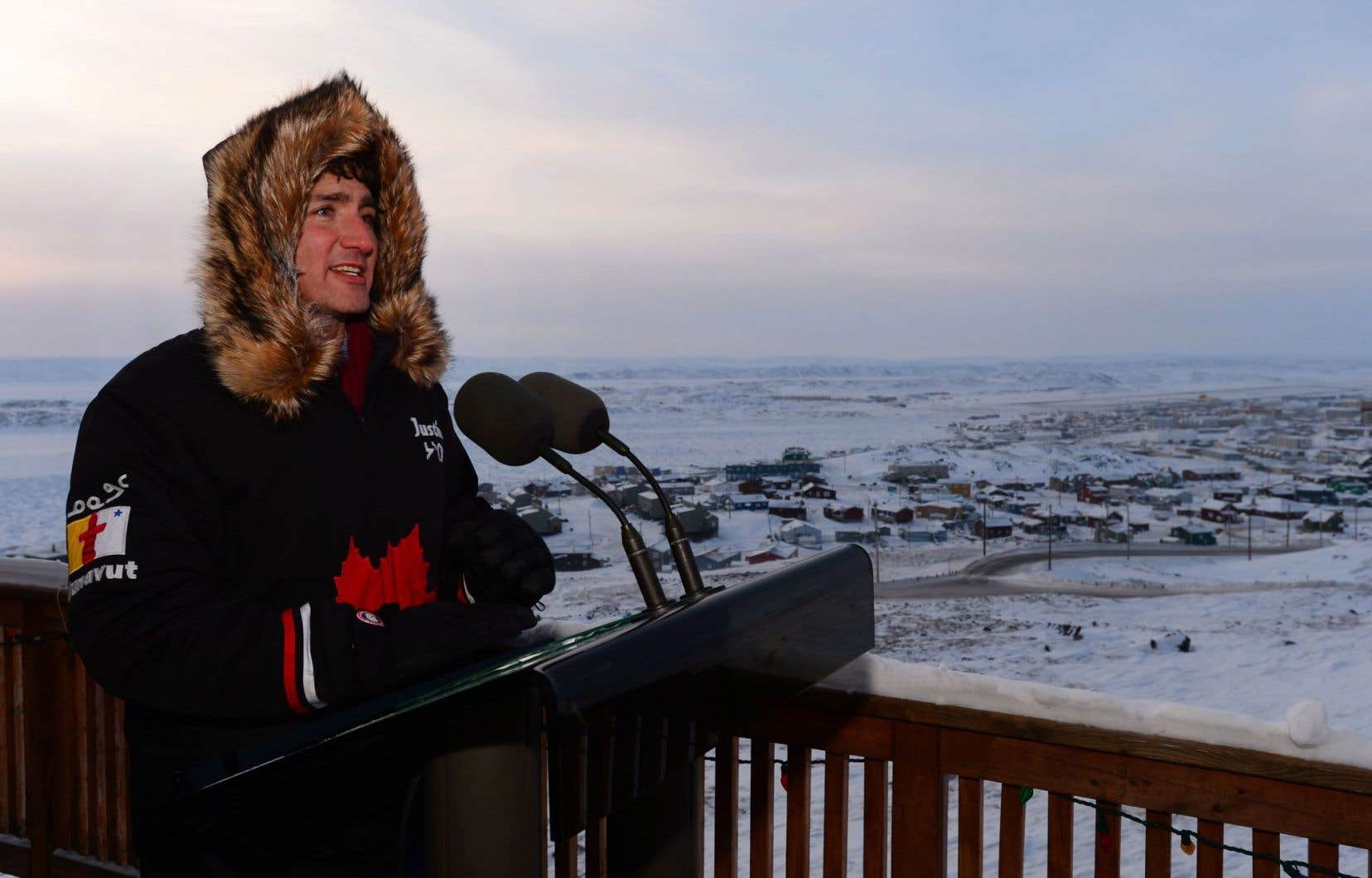 Le premier ministre Justin Trudeau était de passage à Iqaluit jeudi.