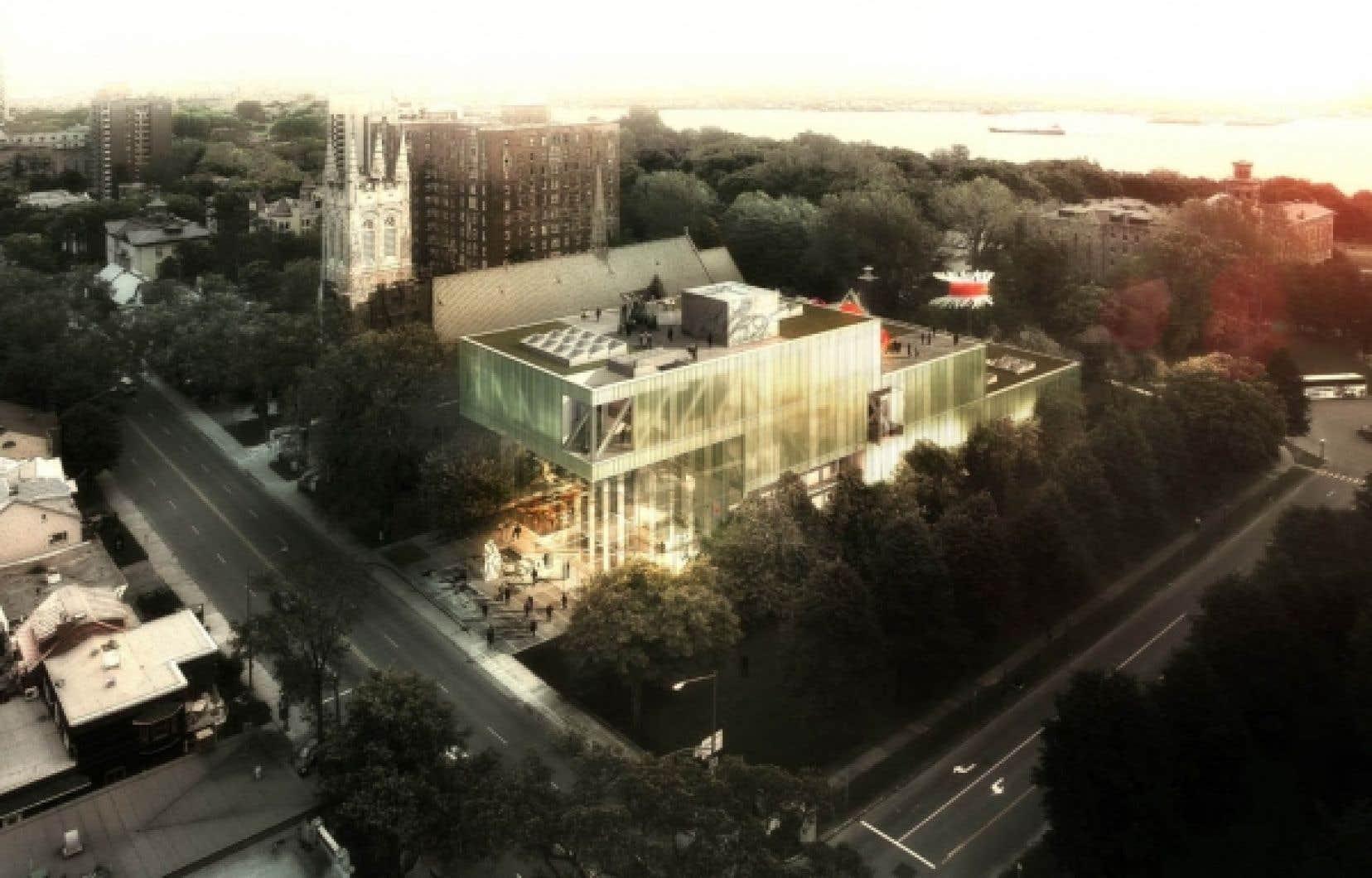 Vue aérienne du projet retenu pour l'agrandissement du Musée des beaux-arts du Québec