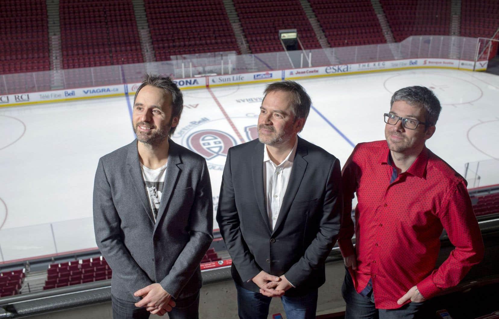 Louis-José Houde, Patrice Sauvé et Matthieu Simard au Centre Bell, temple des Canadiens