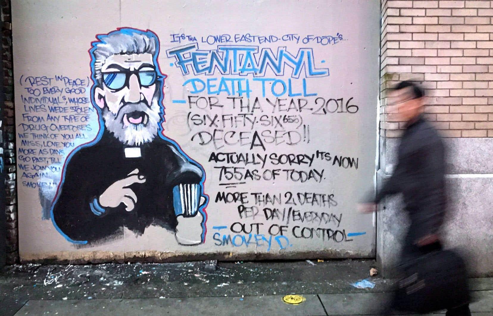 Le fentanyl cause une véritable hécatombe à Vancouver, où les morts par surdose se comptent par centaines. Ci-dessus, un graffiti de Smokey D.