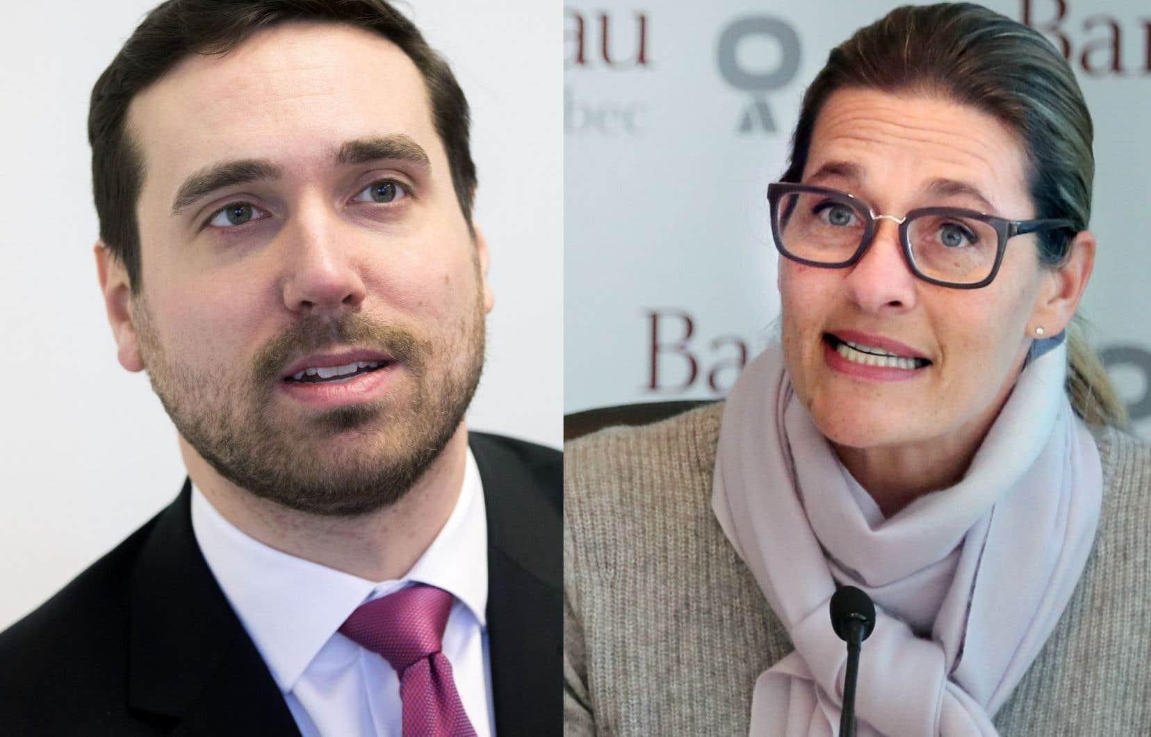 L'actuelle bâtonnière Claudia Prémont (droite) et le candidat au poste Paul-Matthieu Grondin