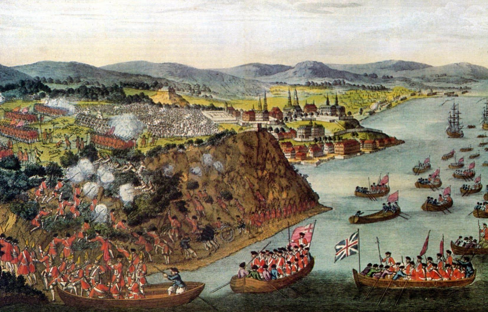 Bataille des plaines d'Abraham en 1759. Sous le commandement du général Wolfe, les hommes escaladent les hauteurs afin de prendre les défenseurs de Québec par surprise.