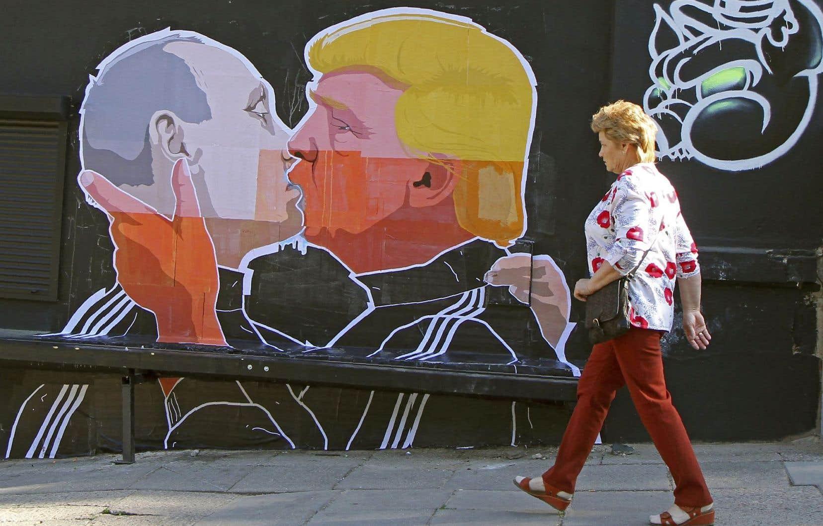 Une murale dans une rue de Vilnius, capitale de la Lituanie