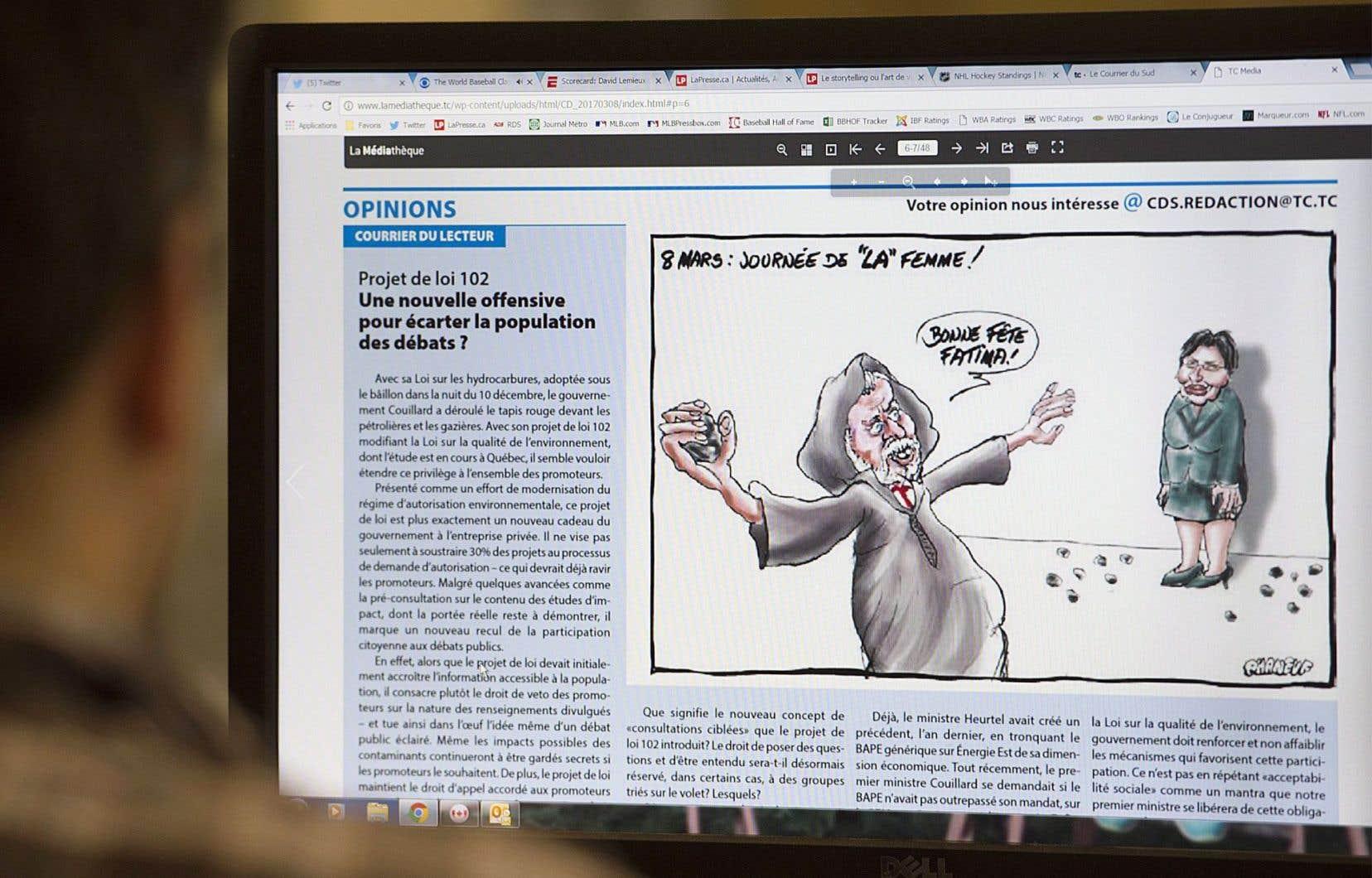 La caricature a été retirée du site Web du «Courrier du Sud», mais 130000 exemplaires papier du journal ont été distribués.