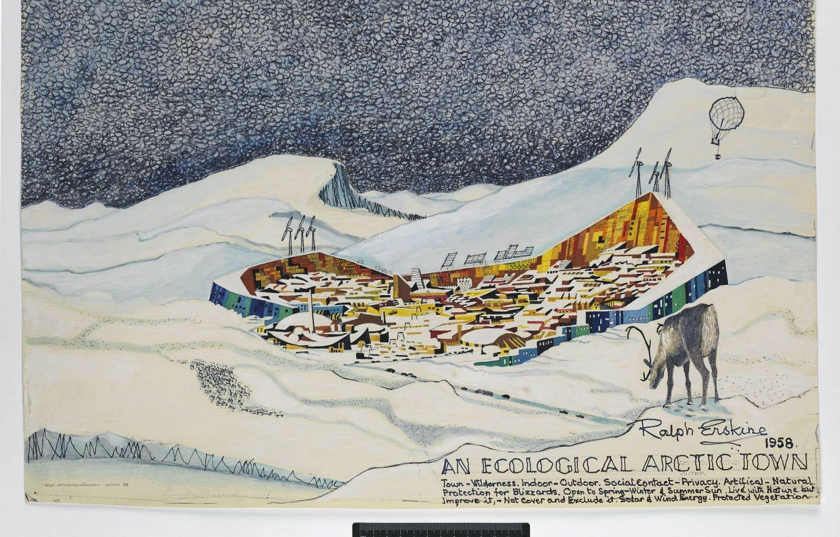 Le croquis en perspective du prototype d'une ville cernée de murailles dans l'Arctique, plus tard réalisé pour la baie de Resolute, de Ralph Erskine