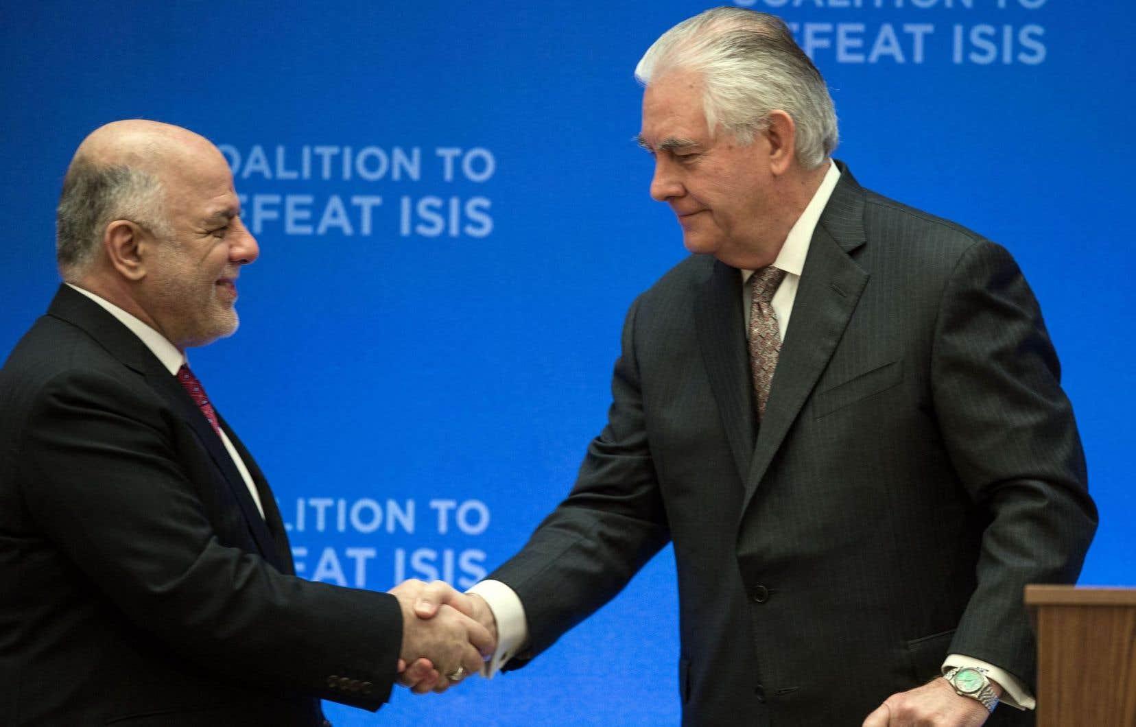 Rex Tillerson (à droite) et le premier ministre irakien, Haidar al-Abadi, lors de la rencontre de mercredi