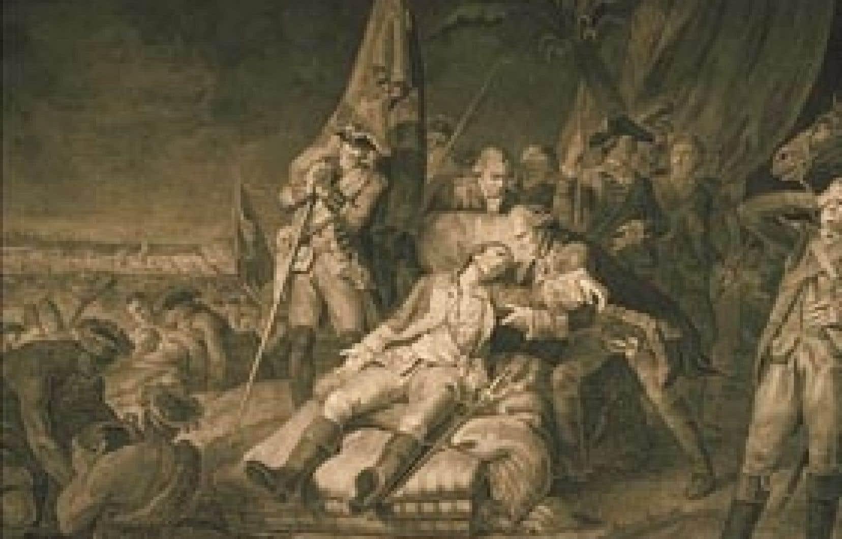 Mort du général Montcalm, estampe de Louis Watteau (vers 1760). La bataille des plaines d'Abraham est-elle le tournant de la Conquête ?