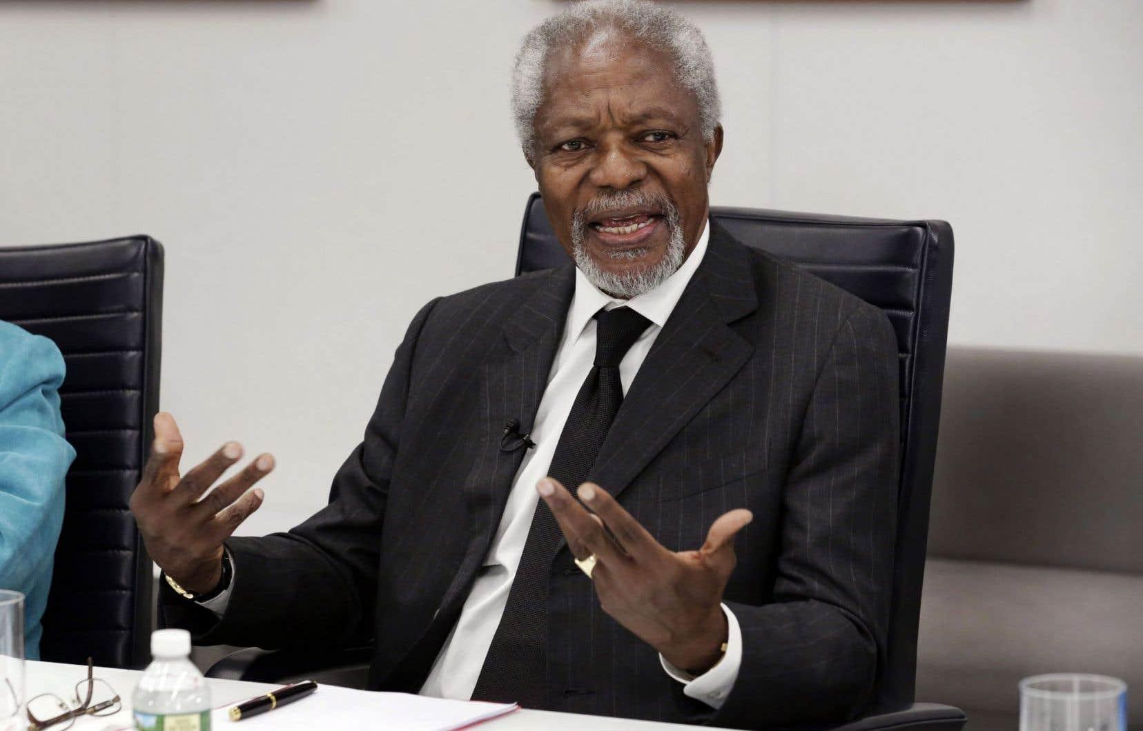 L'ancien secrétaire général de l'ONU Kofi Annan accorde une entrevue à l'Associated Press le 8 mai dernier.