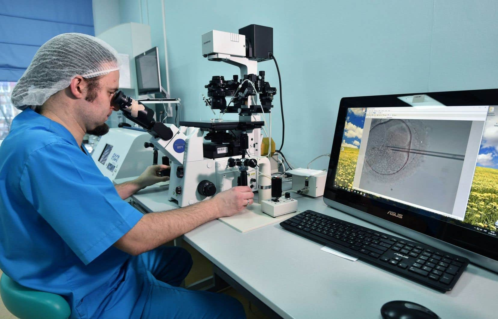 L'embryologue Viktor Nagornyi travaillant dans un laboratoire de la clinique de fertilité privée Nadiya, basée à Kiev, en Ukraine.