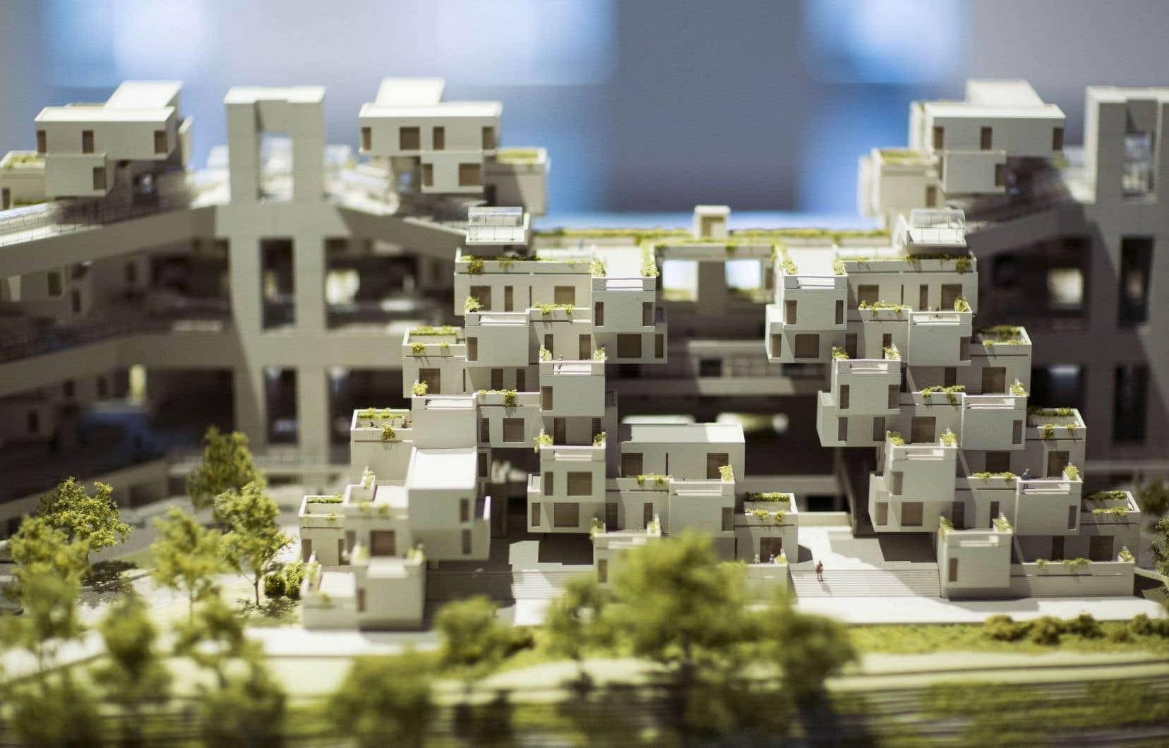 Une maquette qu'on peut voir à l'exposition consacrée à Habitat 67