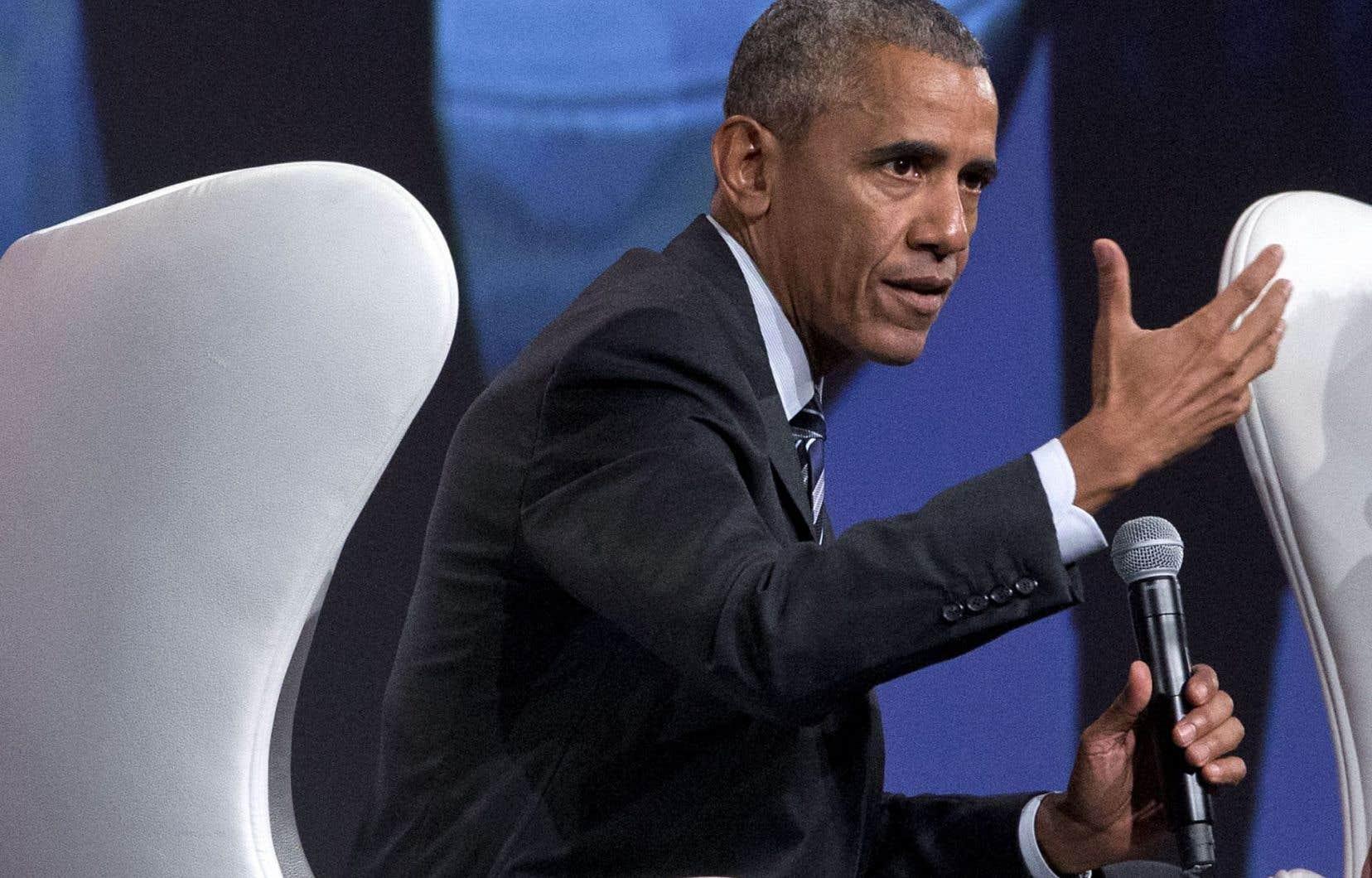 L'ex-président américain Barack Obama s'est adressé à une foule d'environ 6000 personnes au Palais des congrès.