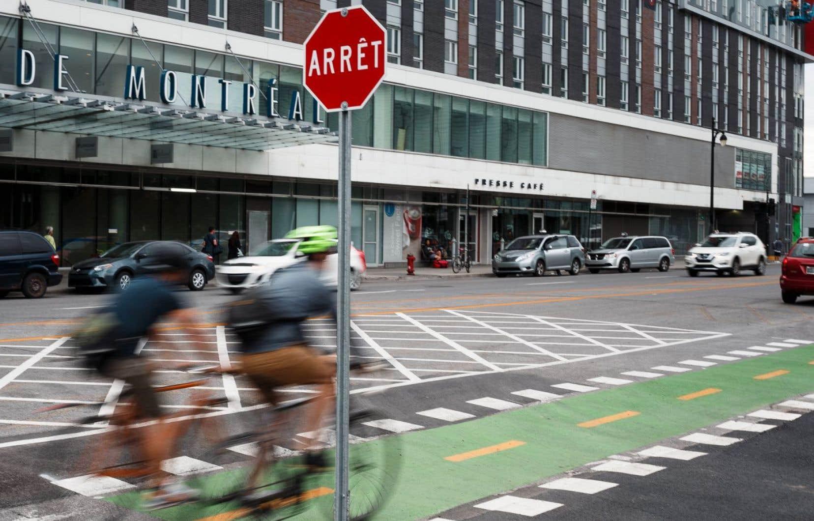 Très peu de cyclistes respectent la signalisation d'arrêt qui a été installée sur la piste cyclable il y a peu de temps.