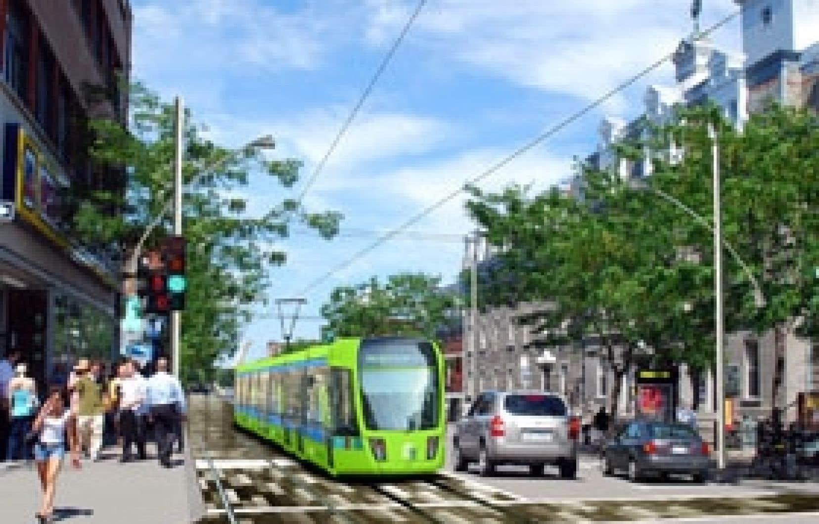 Voilà de quoi pourrait avoir l'air l'avenue du Mont-Royal si le tramway y circulait. Il s'agit de l'un des deux scénarios élaborés par Projet Montréal pour cette artère commerciale. Sur cette image, les automobilistes disposent d'une voie