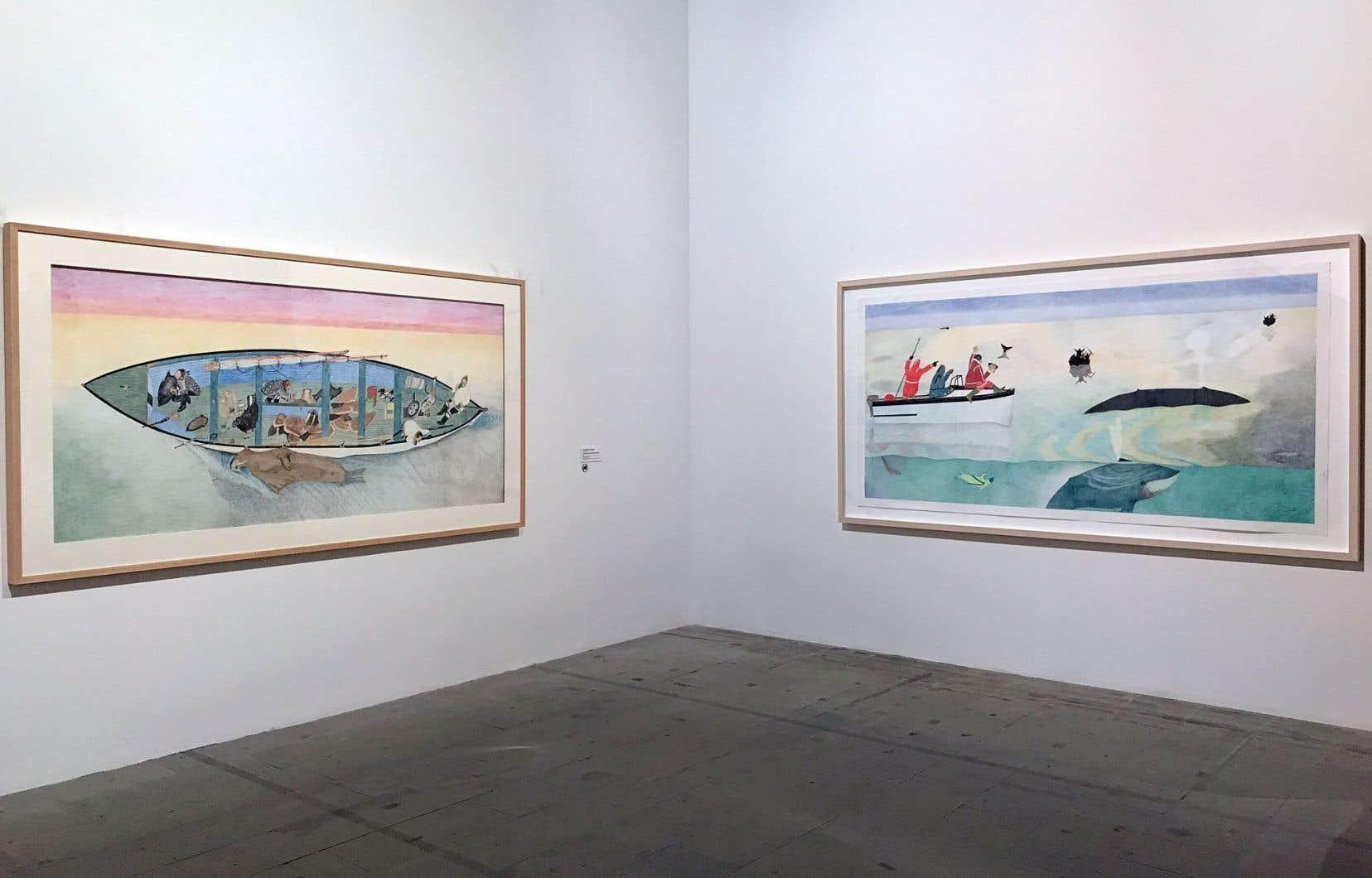 Kananginak Pootoogook, «Untitled (Successful Walrus Hunt)», 2009 et «Whale Hunt», 2009