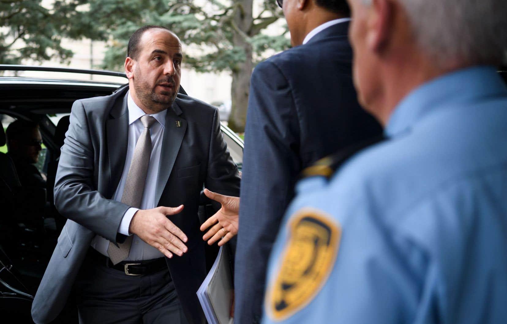 Le principal dirigeant duHaut comité des négociations de l'opposition syrienne, Nasr al-Hariri, lors des pourparlers de paix en mai dernier