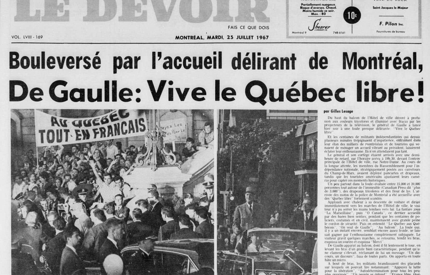 La une du «Devoir» du 25 juillet 1967, au lendemain du discours du général de Gaulle